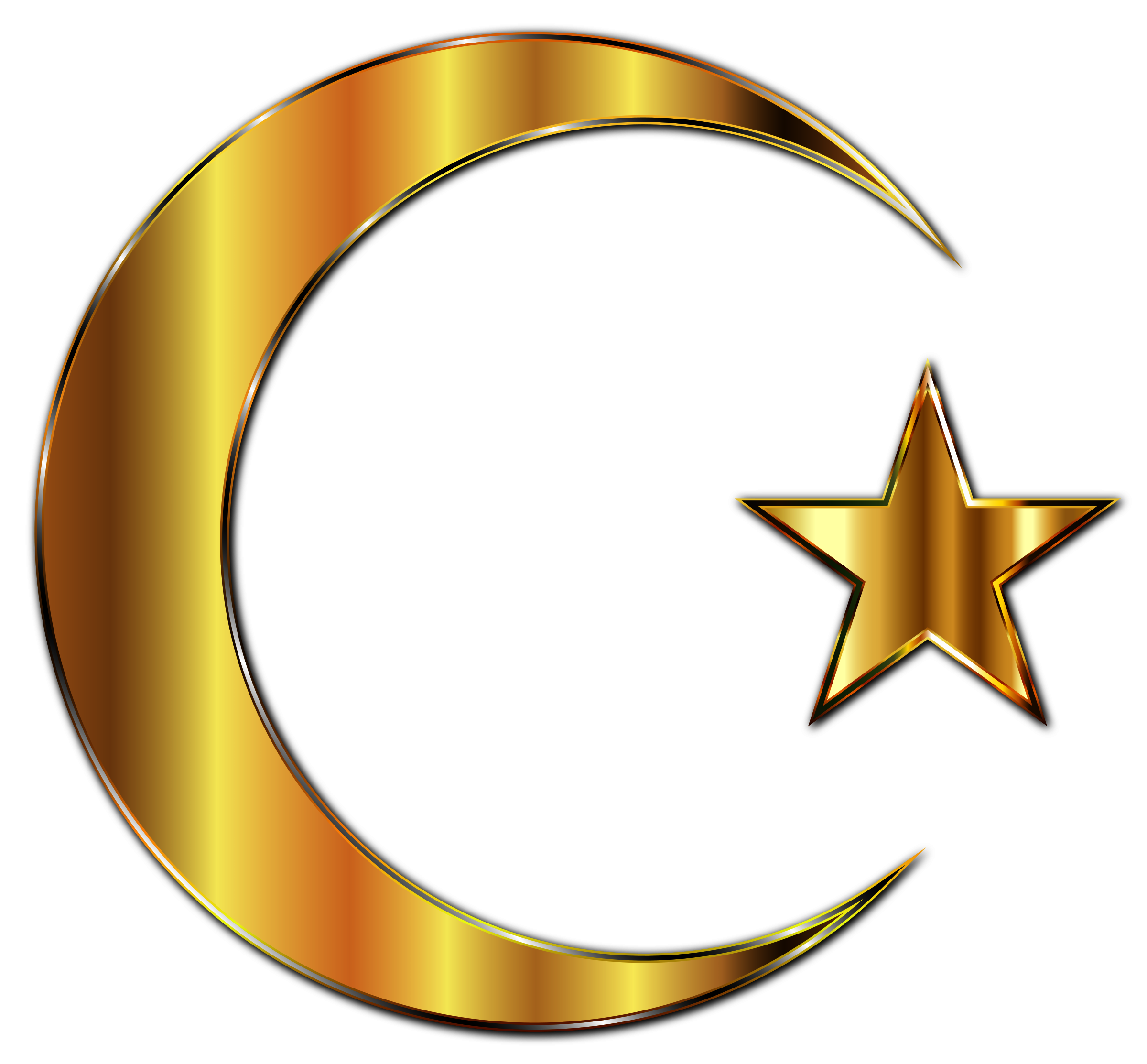 Clipart - Golden Crescent Moon And Star Enhanced 2