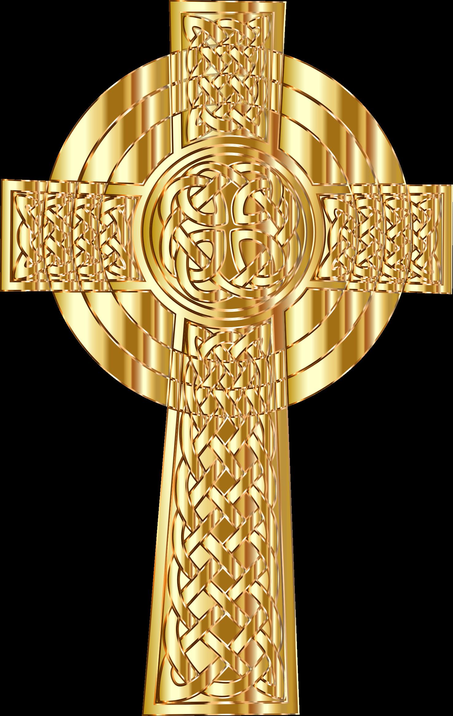 Clipart - Golden Celtic Cross 2