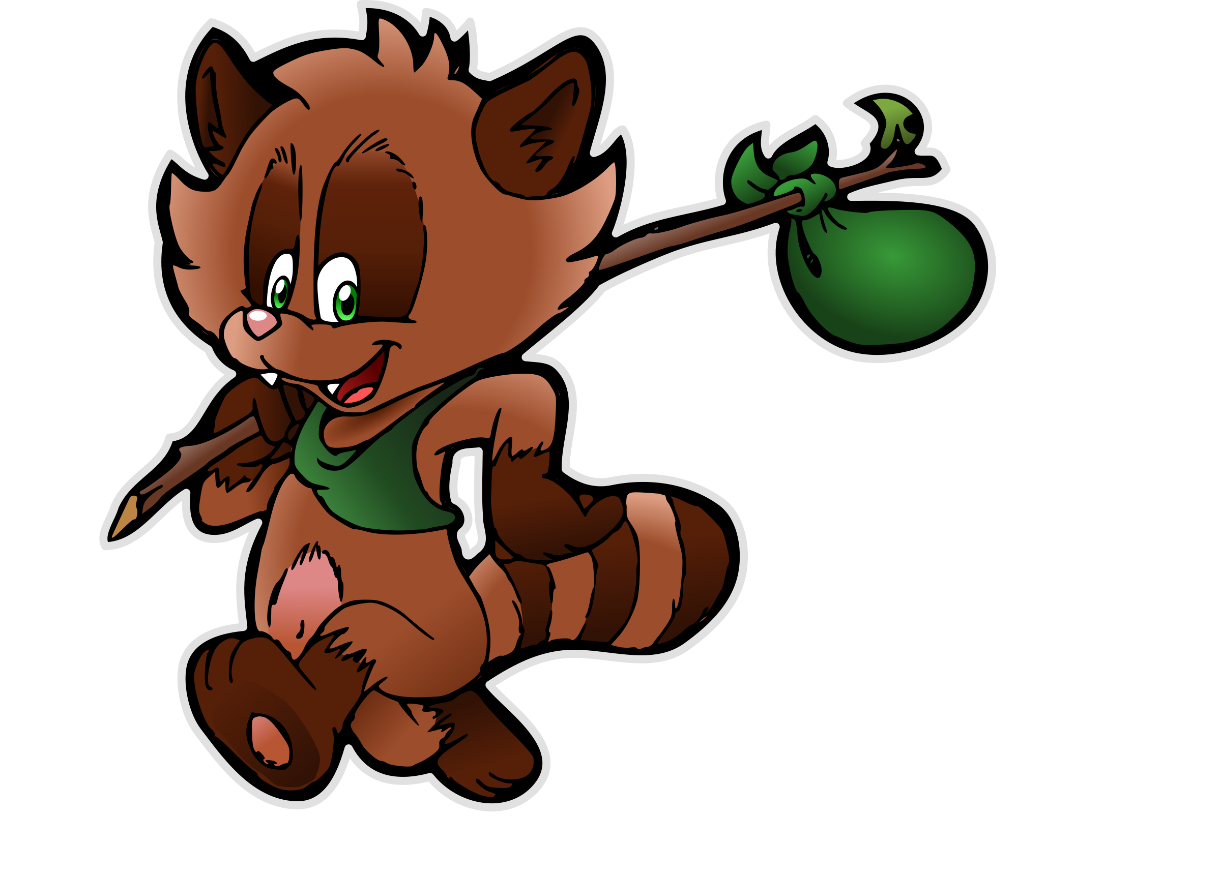 Happy Tanuki 2 (without background) by Schade