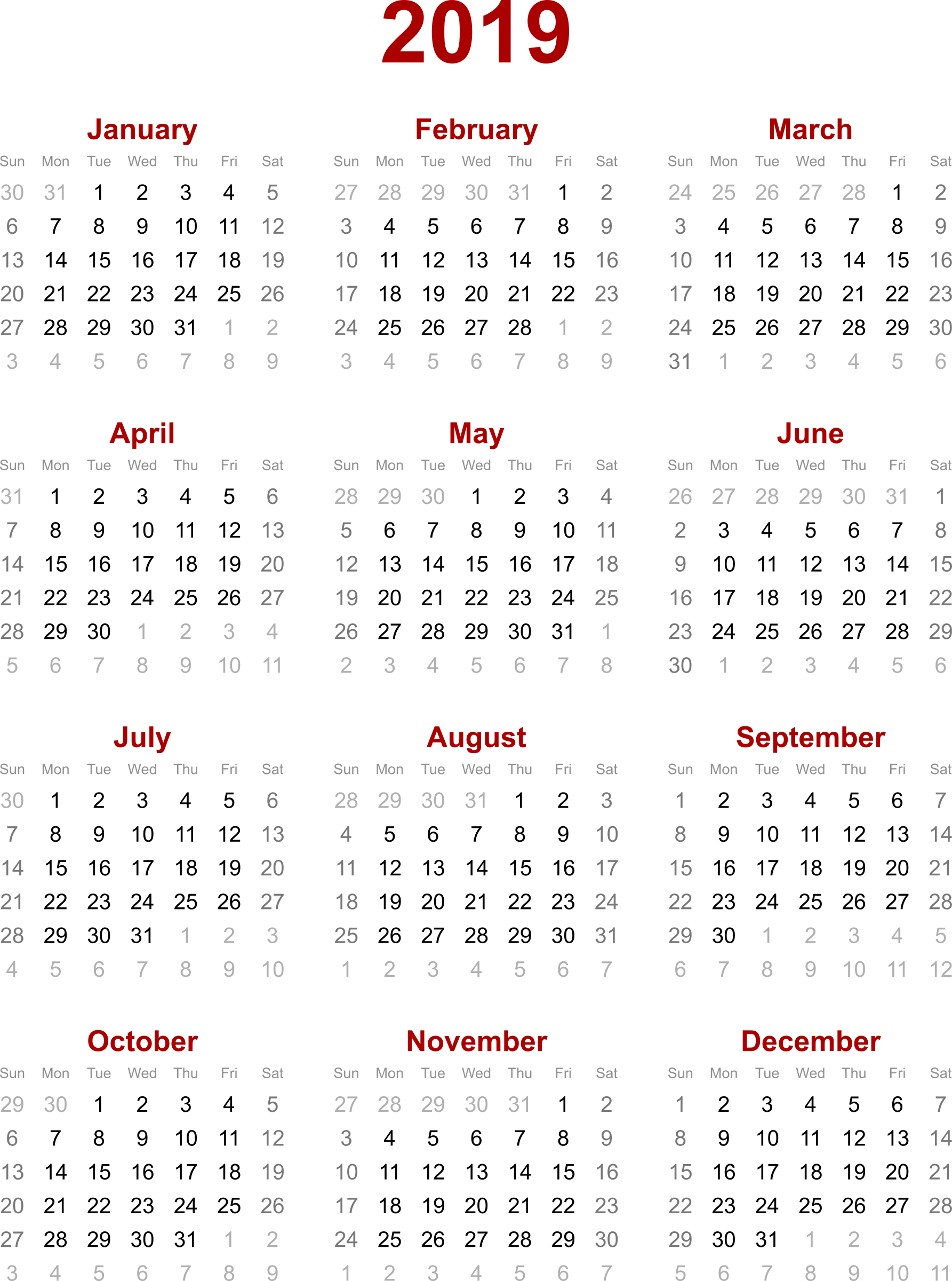 Calendar By Year : Yearly calendar free download cheetah template
