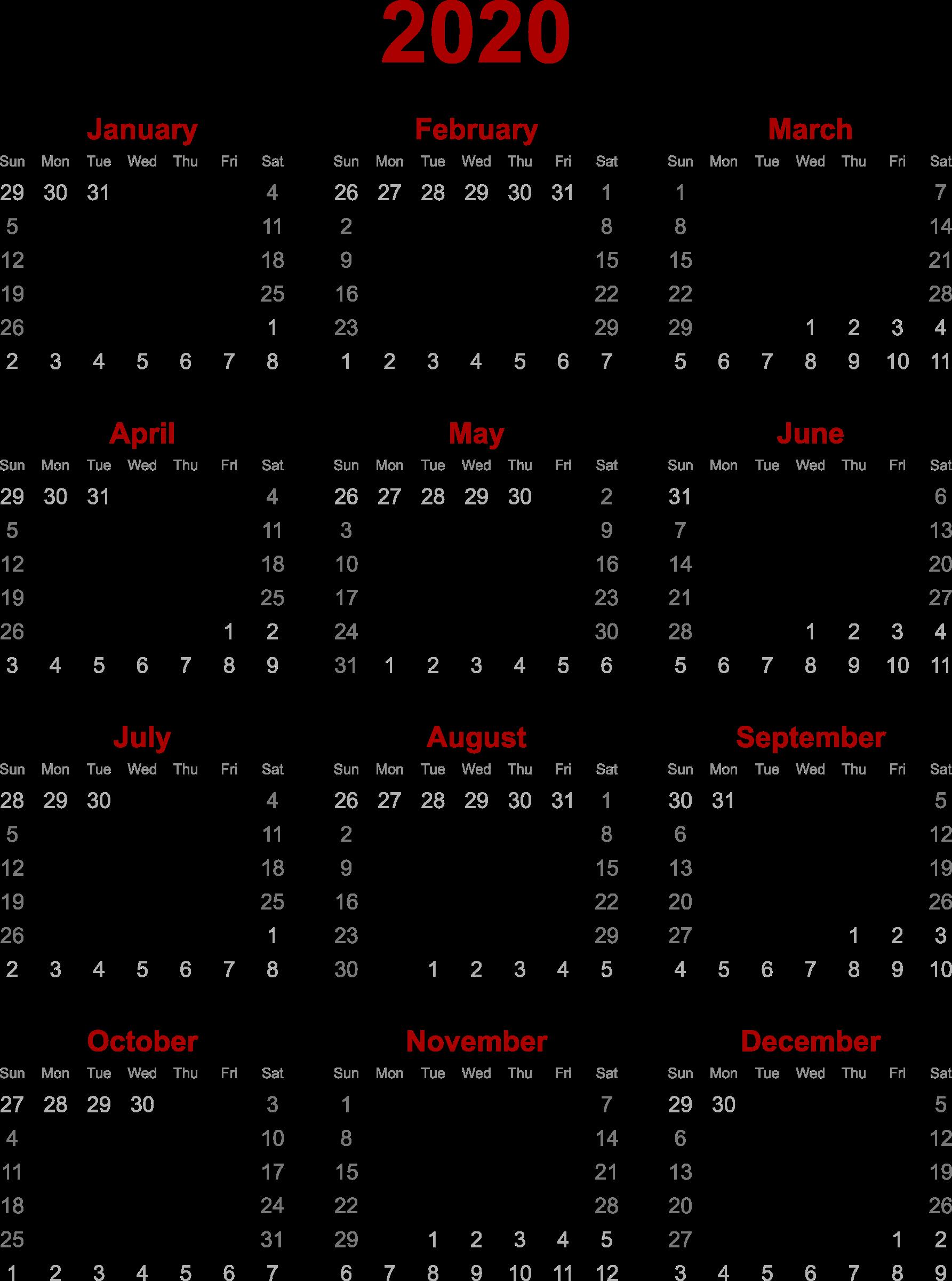 Clipart - 2020 calendar