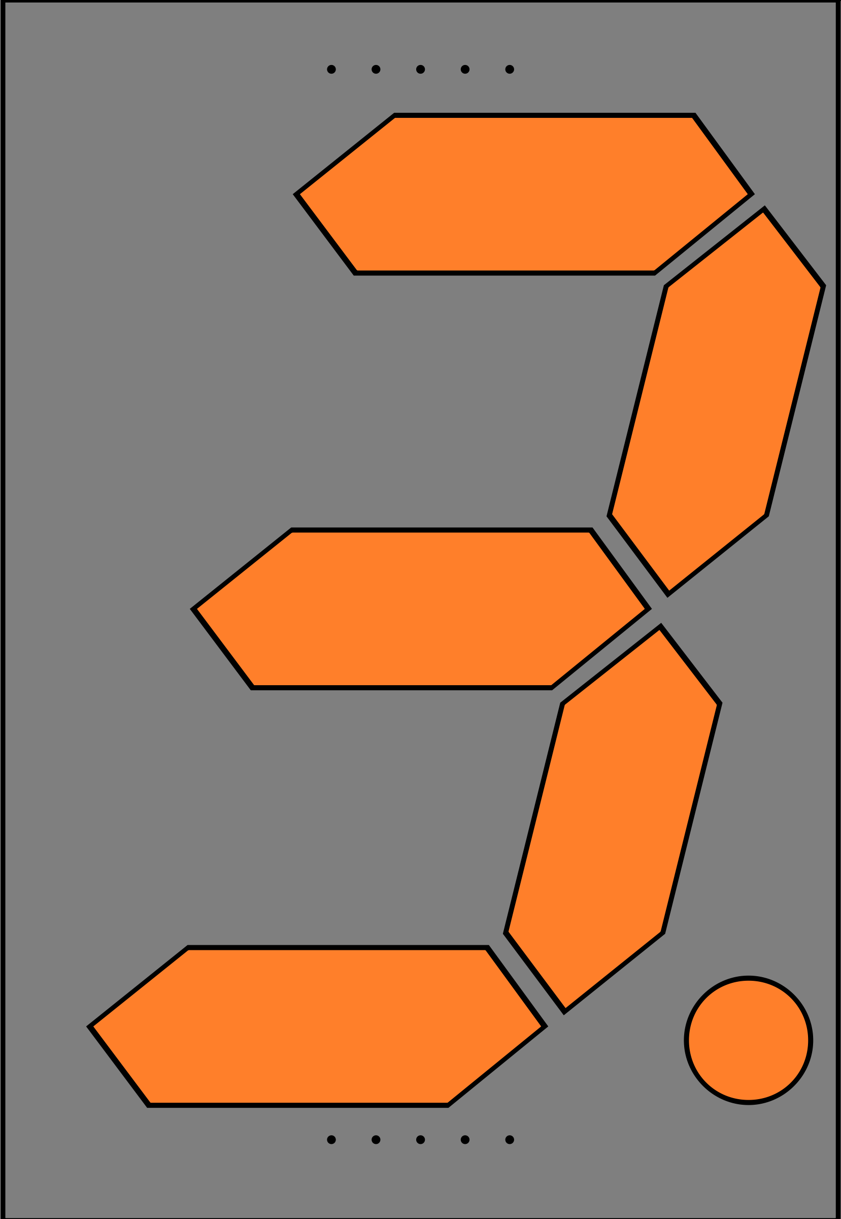 Orange Seven Segment Display: Three by jonathan357