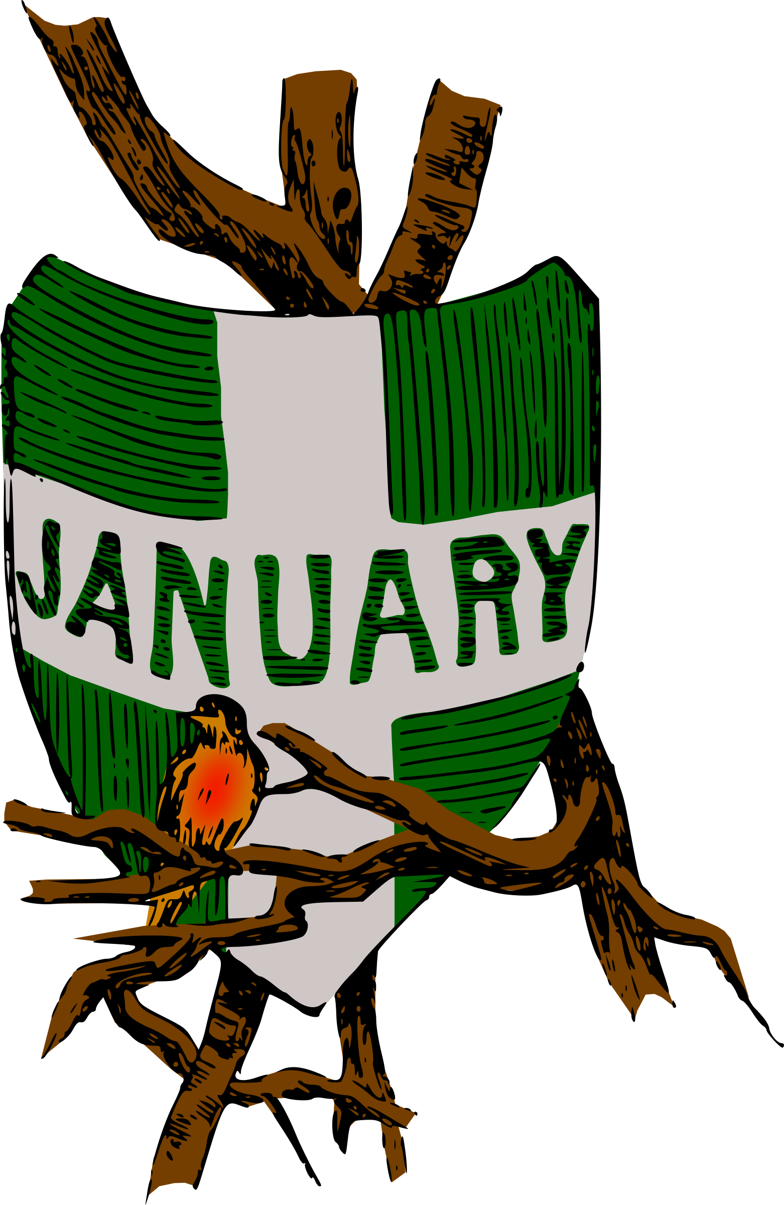 Illustrated months (January, colour) by Firkin