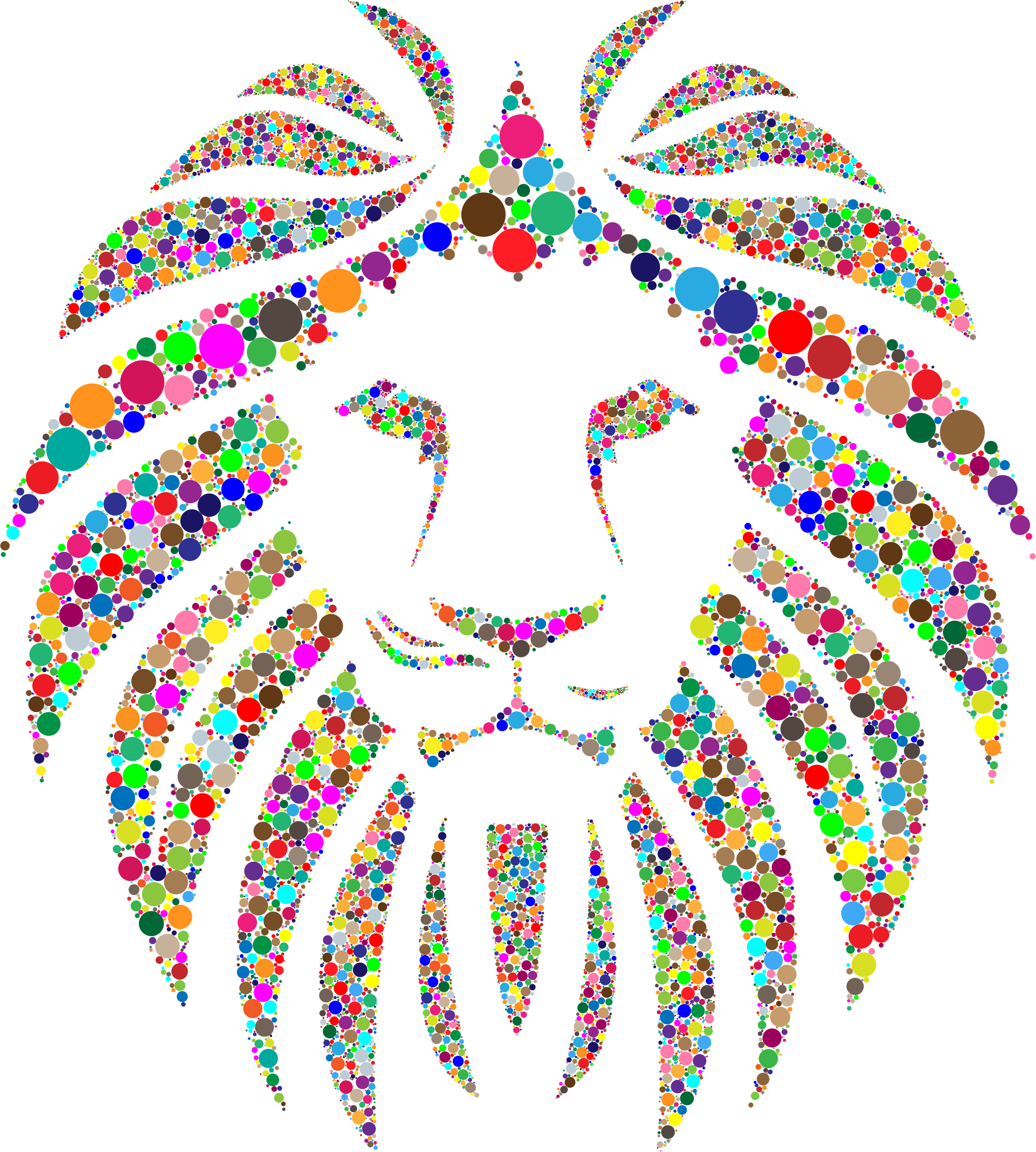 Colorful Lion Circles No Background by GDJ