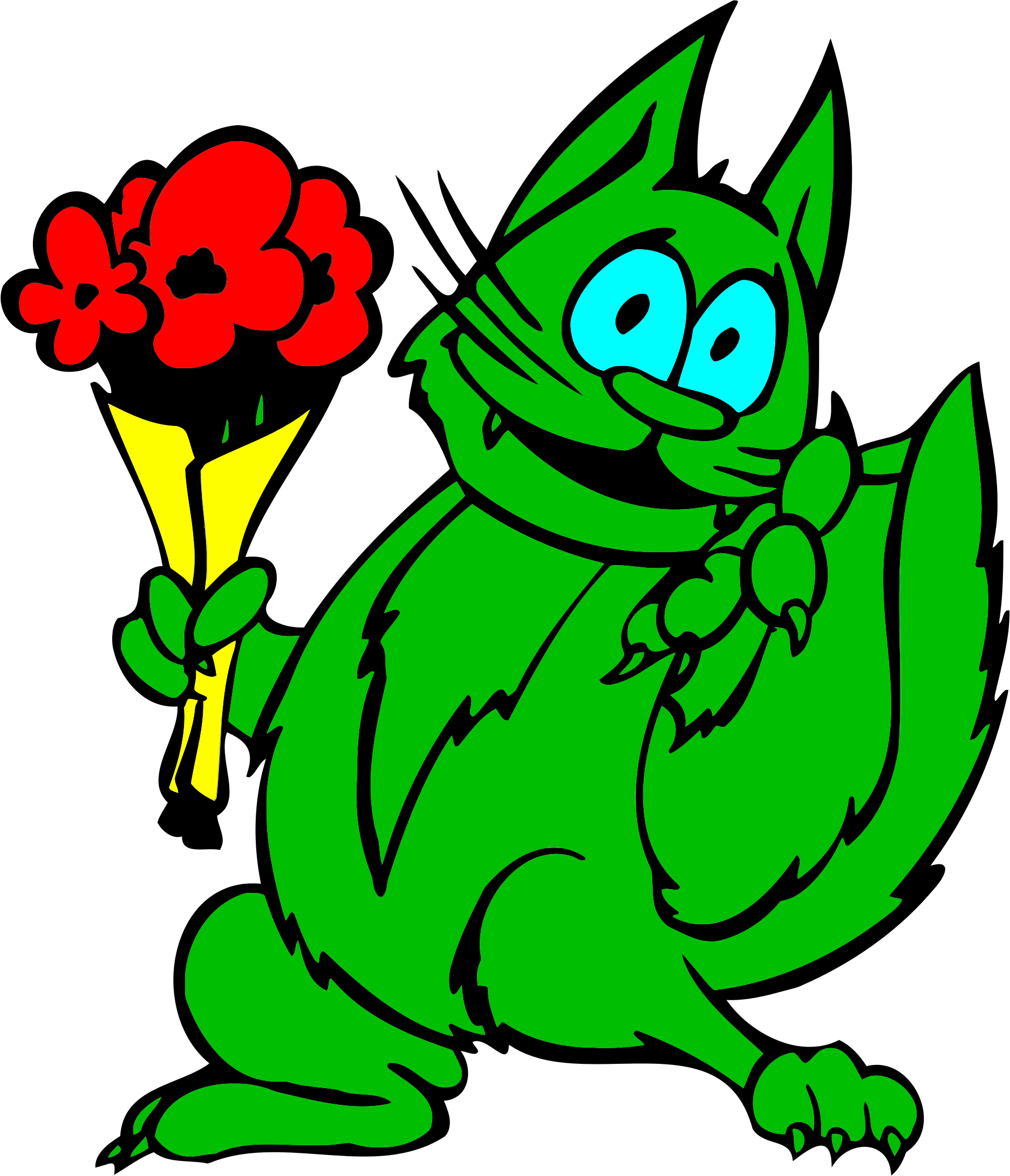 Green Cat With Flowers by GDJ