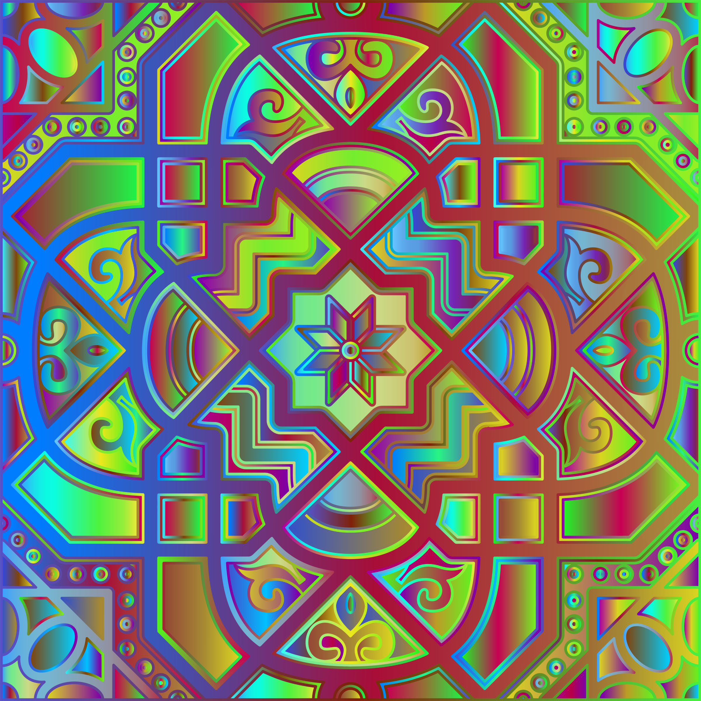 Chromatic Geometric Line Art 6 by GDJ