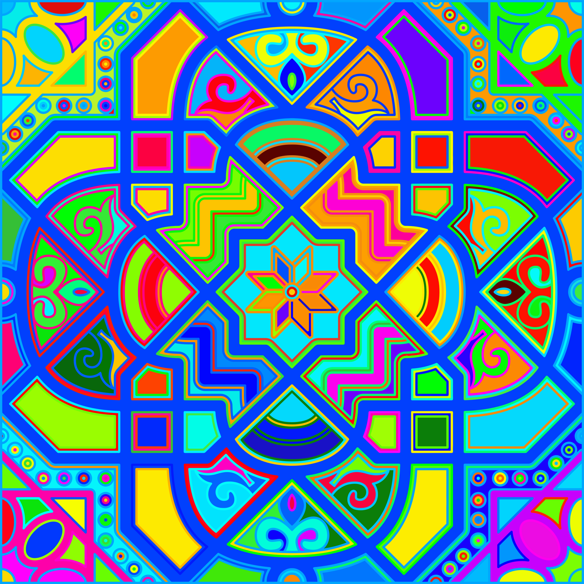 Chromatic Geometric Line Art 7 by GDJ