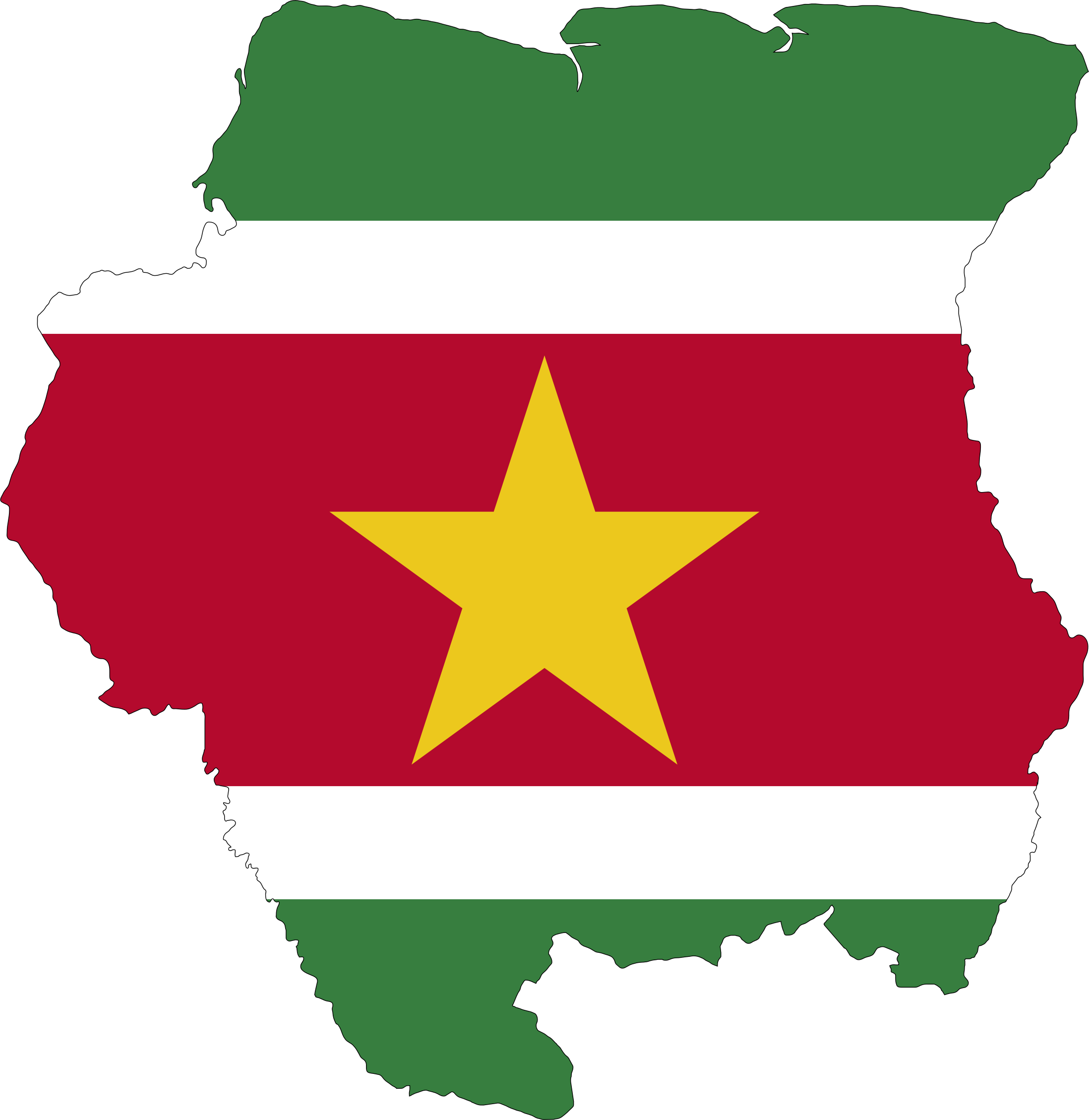 Suriname Map Flag by GDJ