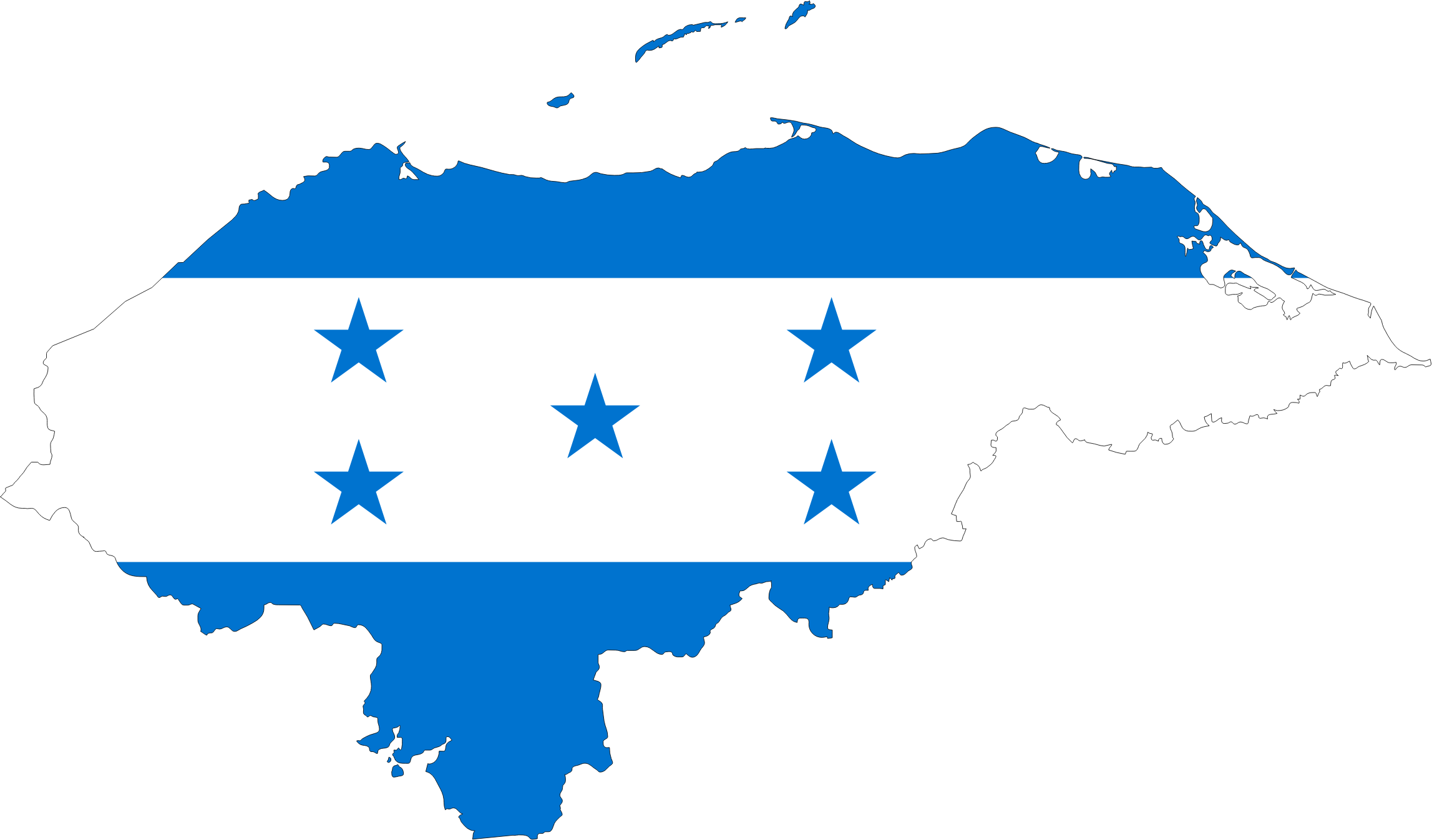 Clipart Honduras Map Flag - Hondurus map