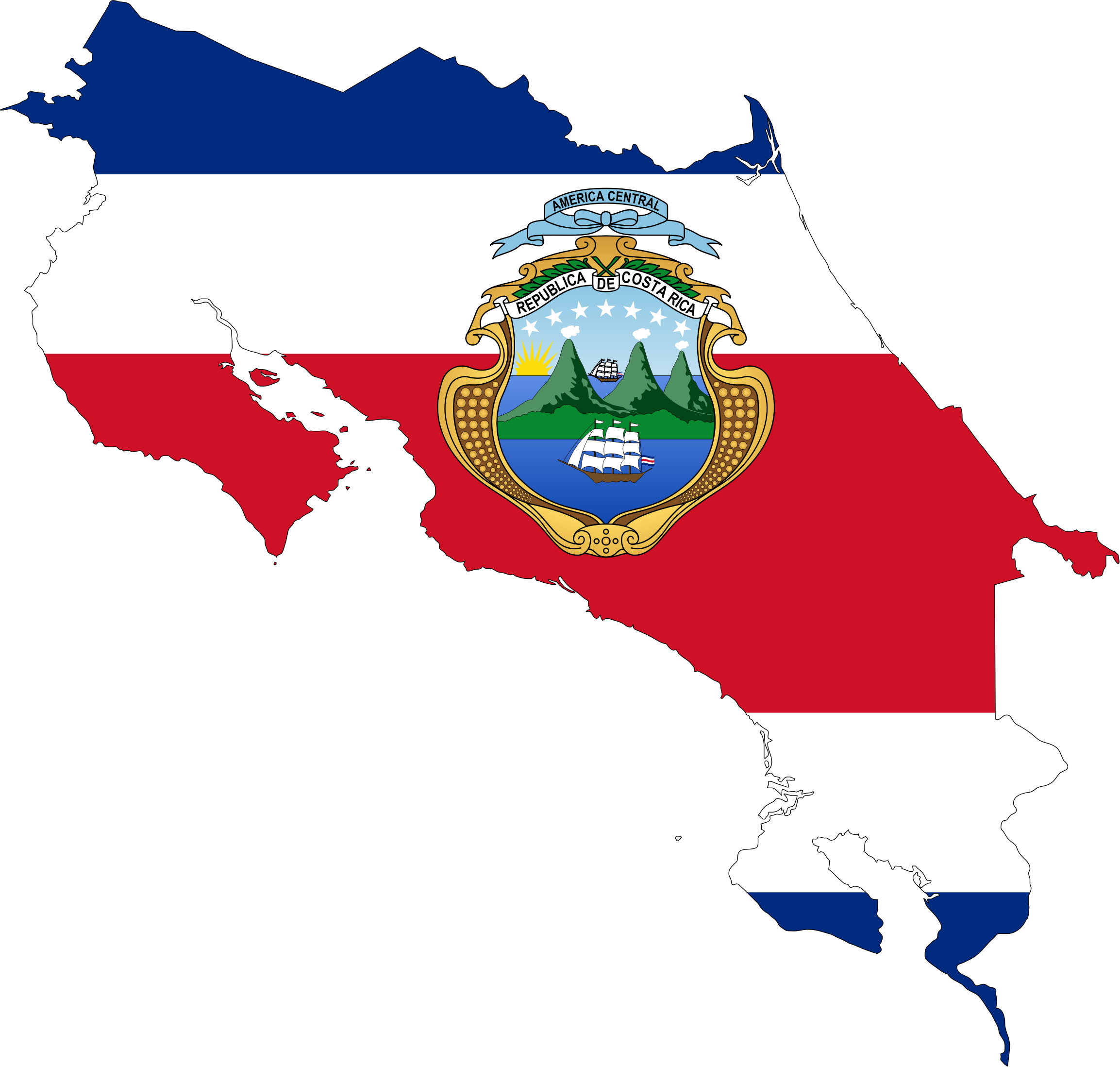 Clipart Costa Rica Map Flag