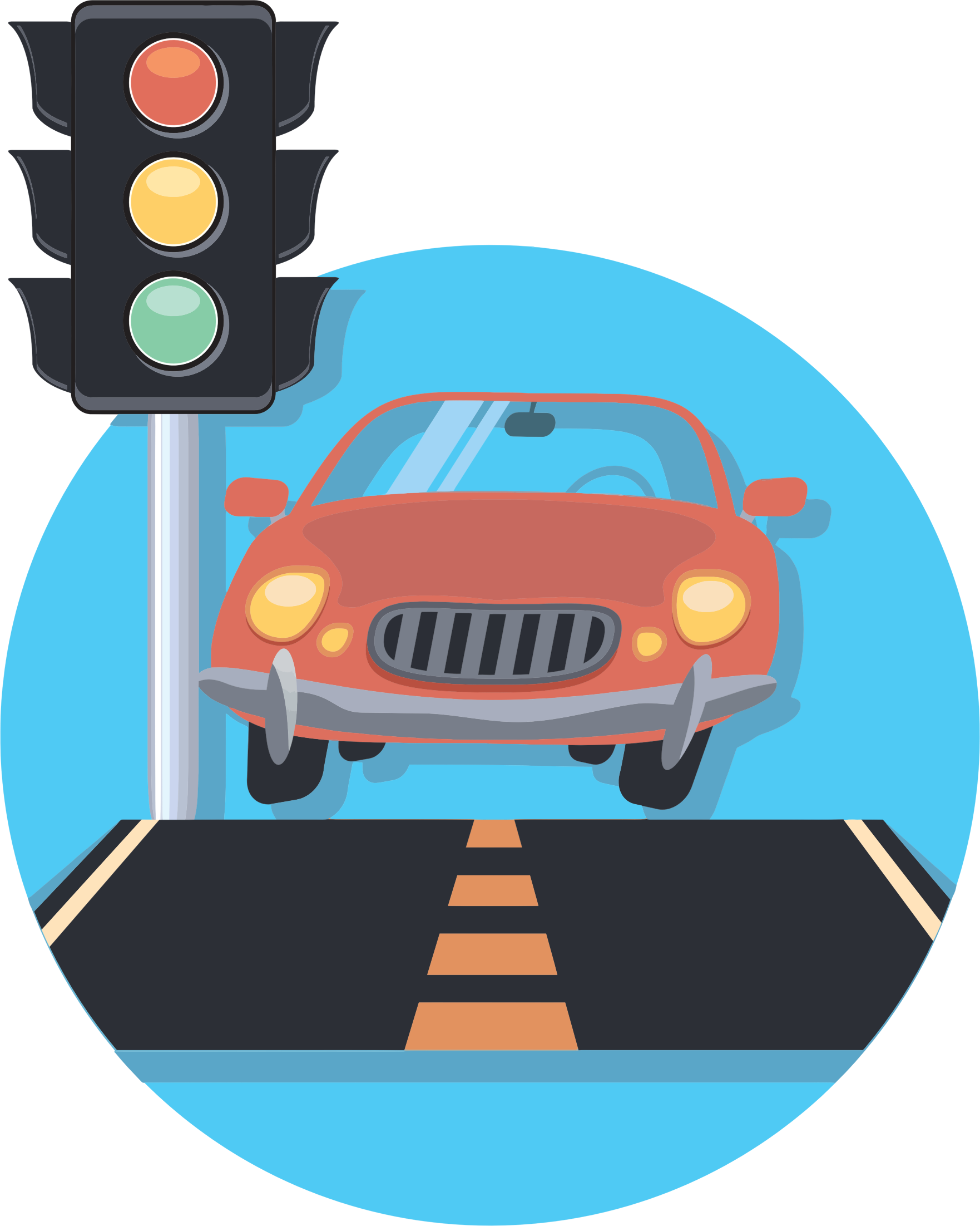 Car And Traffic Light Icon by GDJ