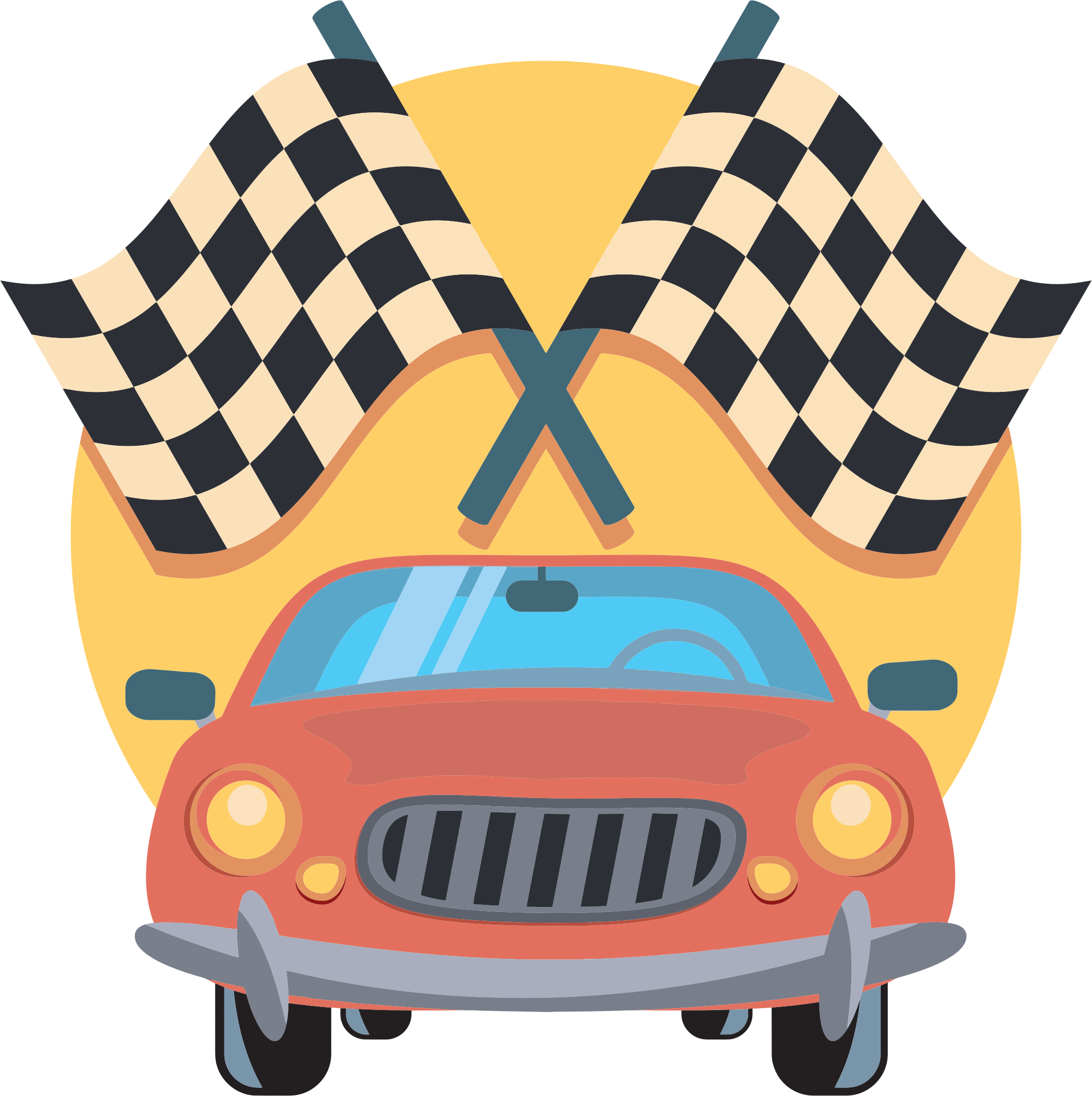 Car And Racing Flags Icon by GDJ