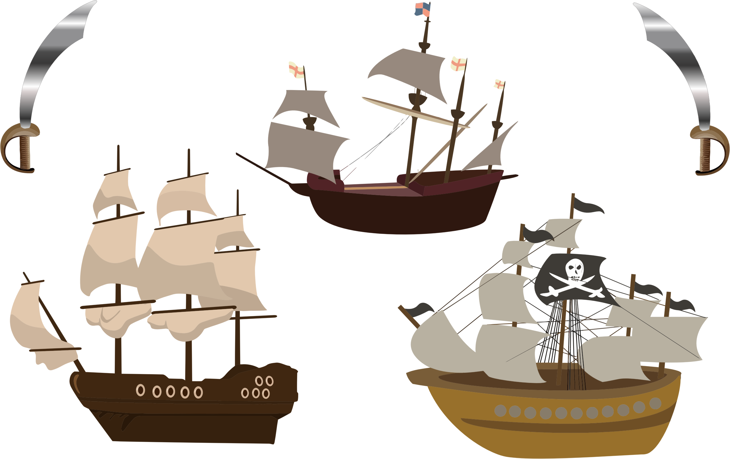 Clipart - Three Pirate Ships
