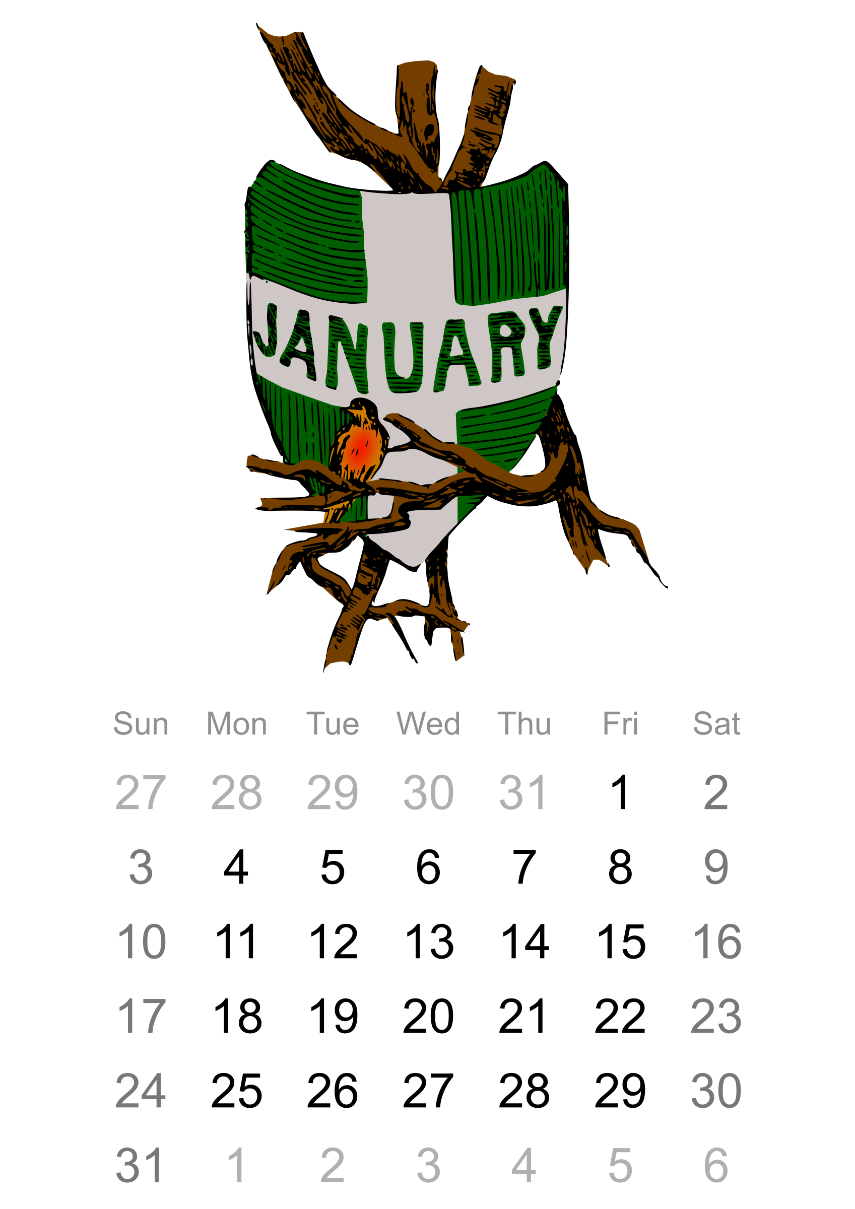 2016 January calendar by Firkin