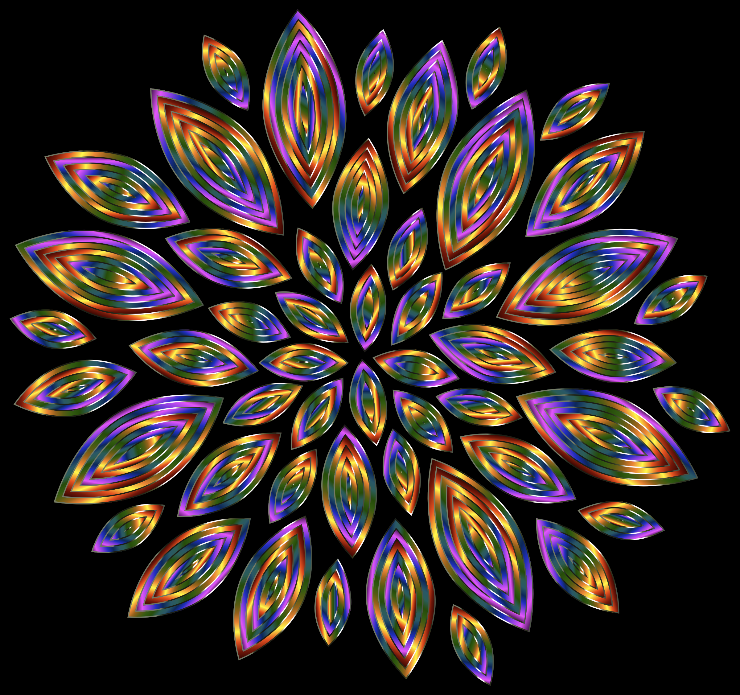 Chromatic Flower Petals 12 With Background by GDJ