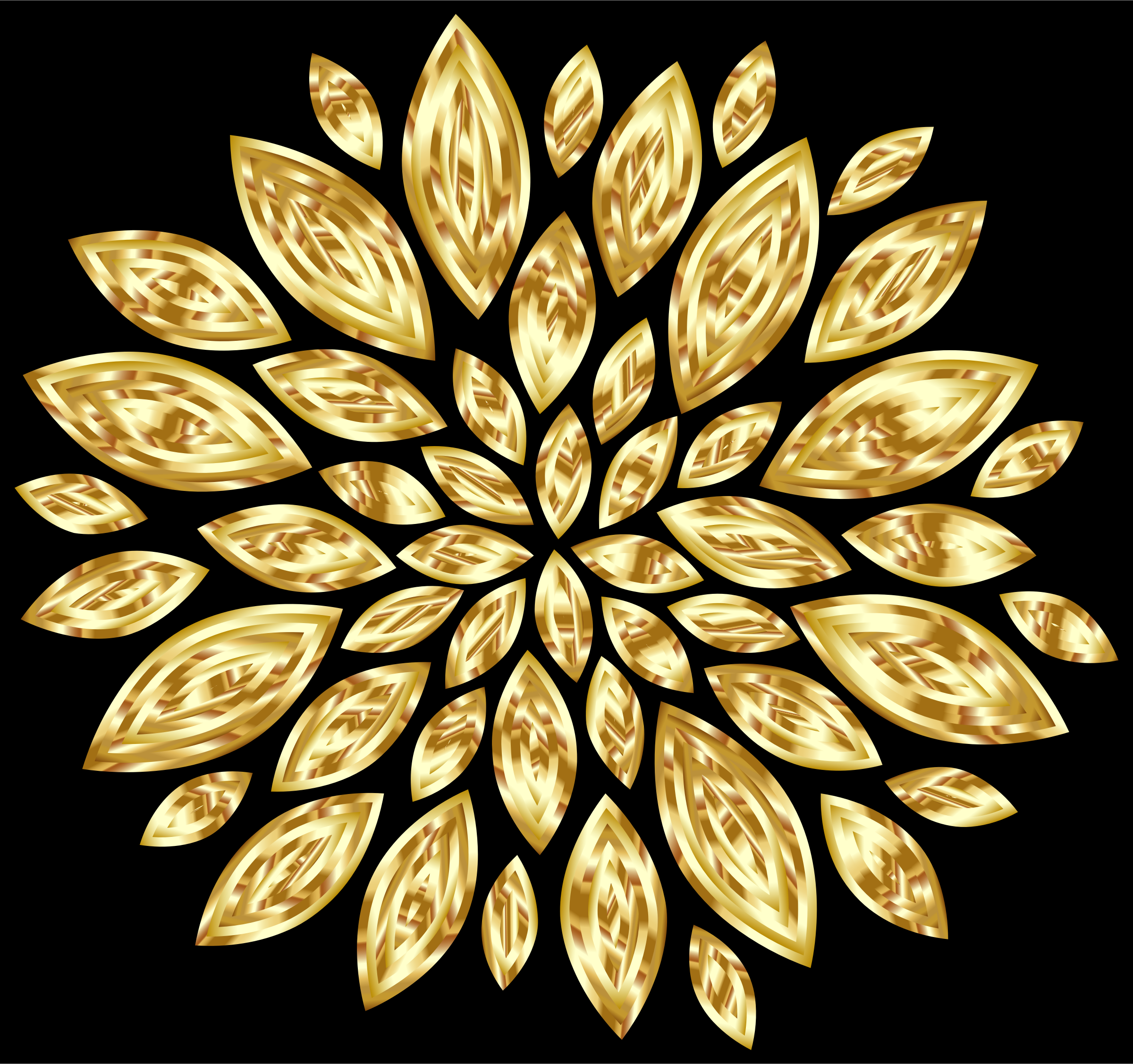 Gold Flower Petals Variation 2 With Background by GDJ