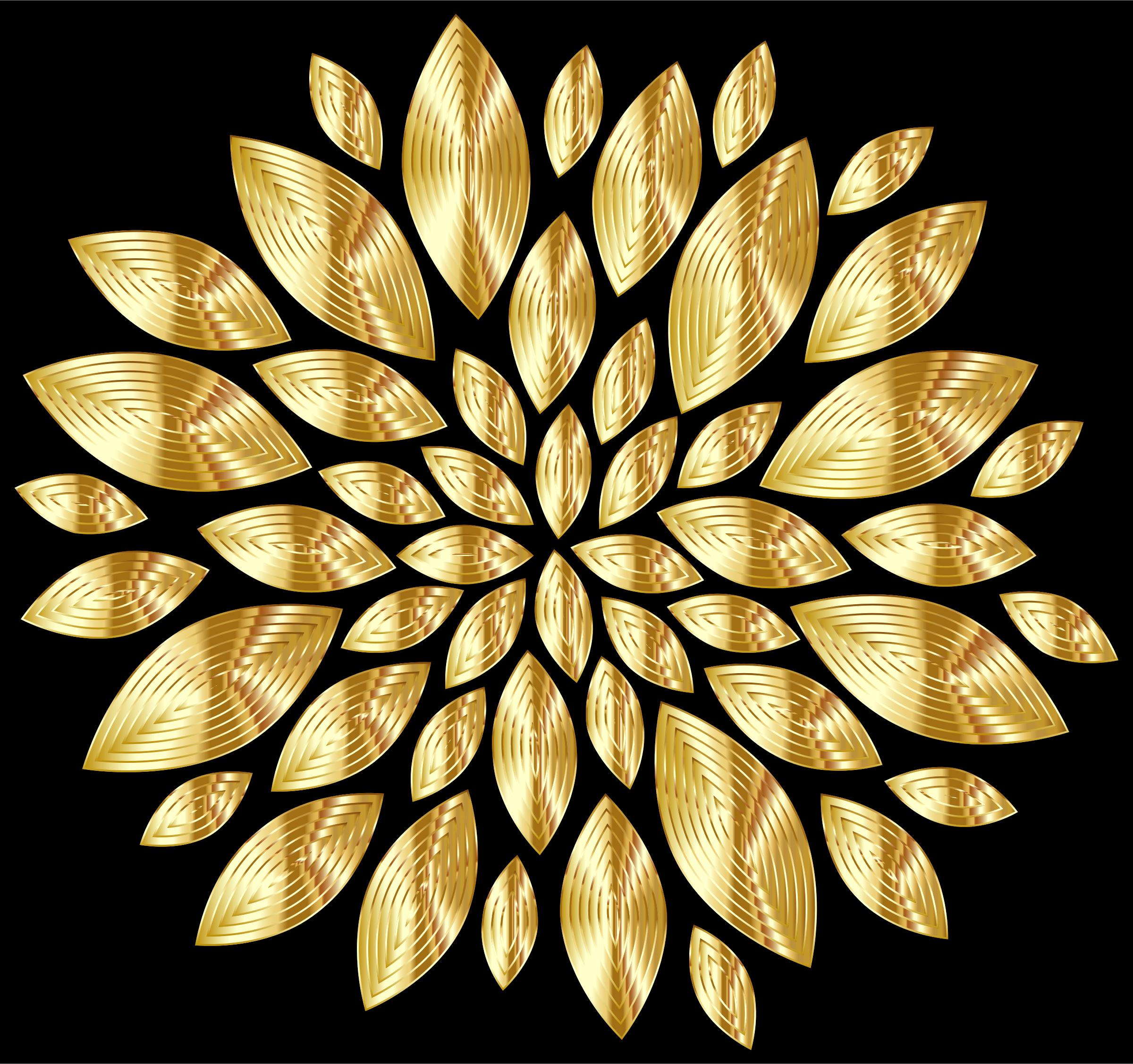 Gold Flower Petals Variation 3 With Background by GDJ