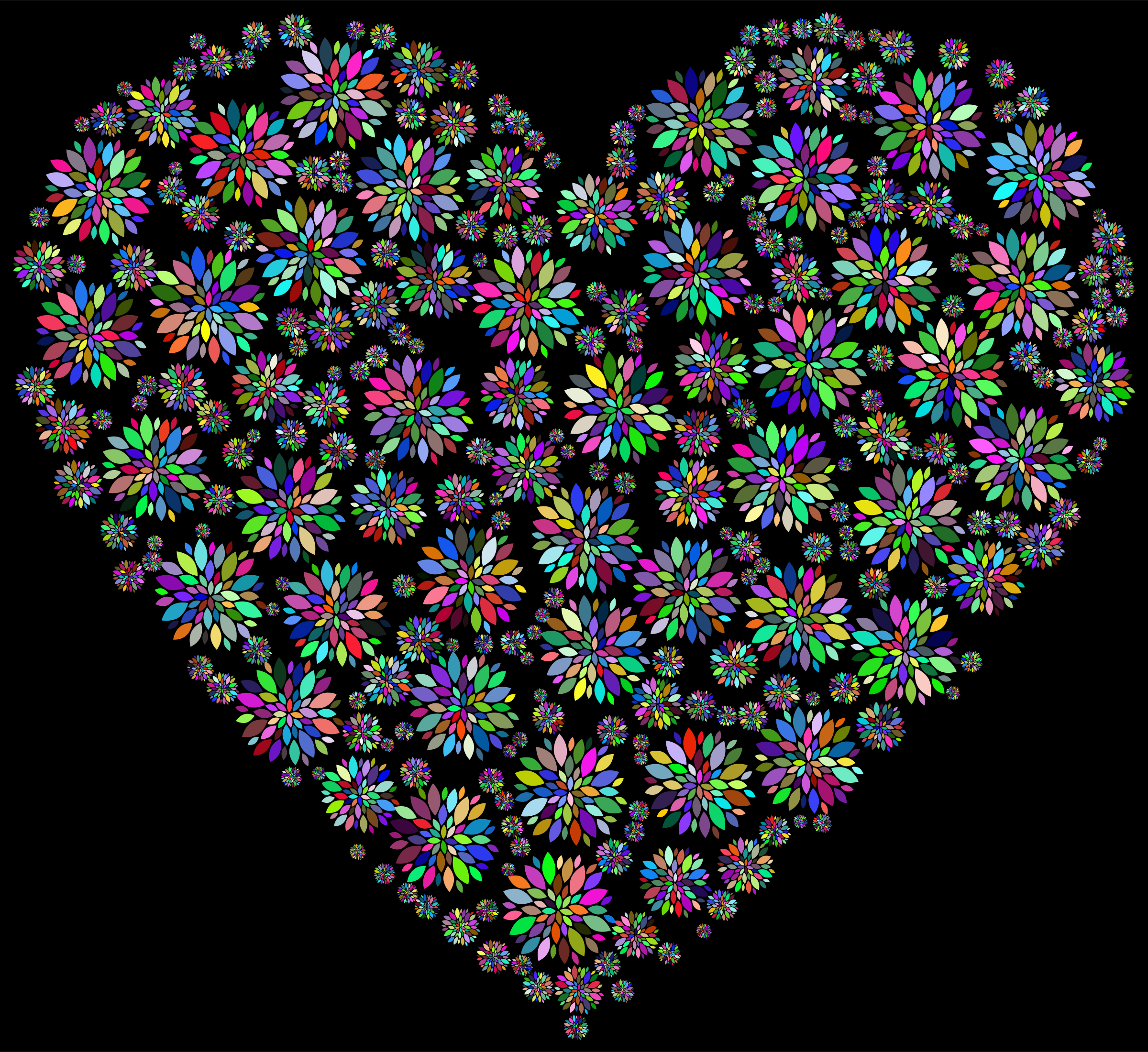 Iridescent Petals Heart 2 With Background by GDJ