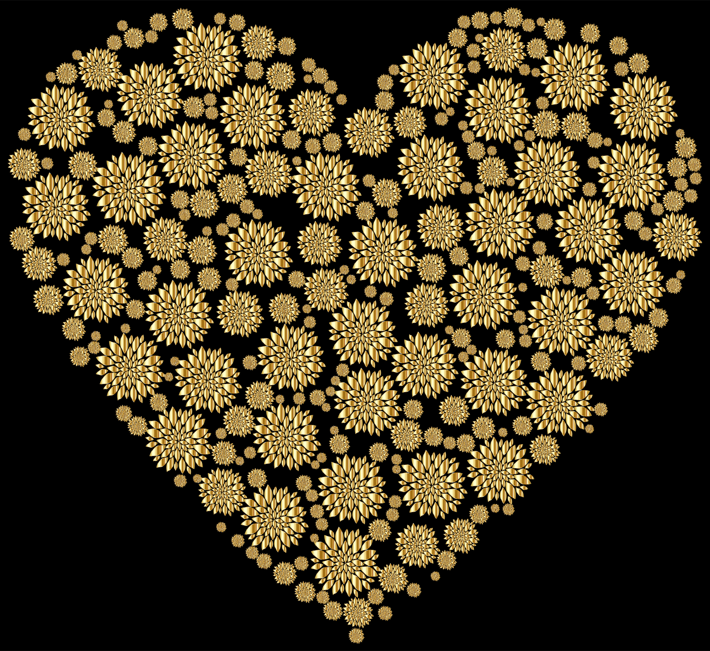 Gold Petals Heart With Background by GDJ