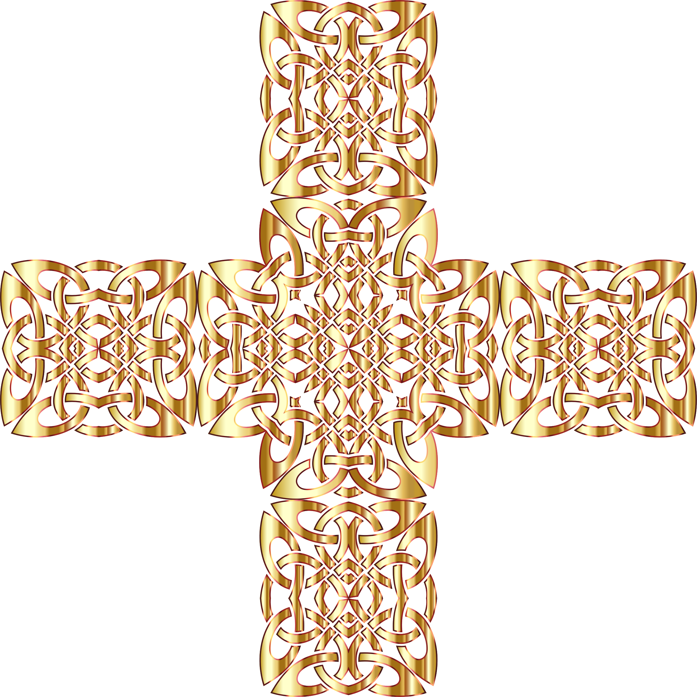 Golden Celtic Knot Cross 3 Without Background by GDJ