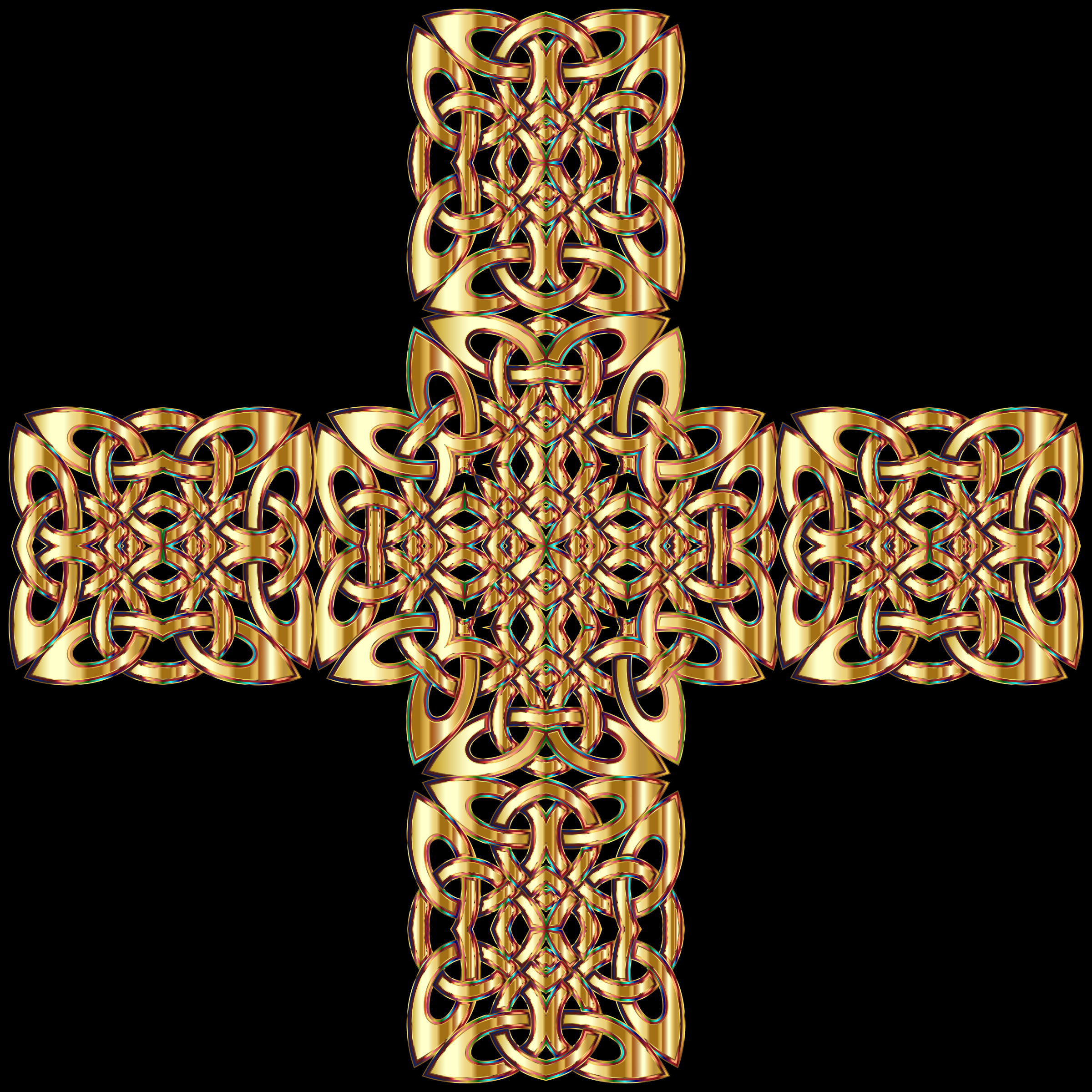 Golden Celtic Knot Cross 3 Variation 2 by GDJ