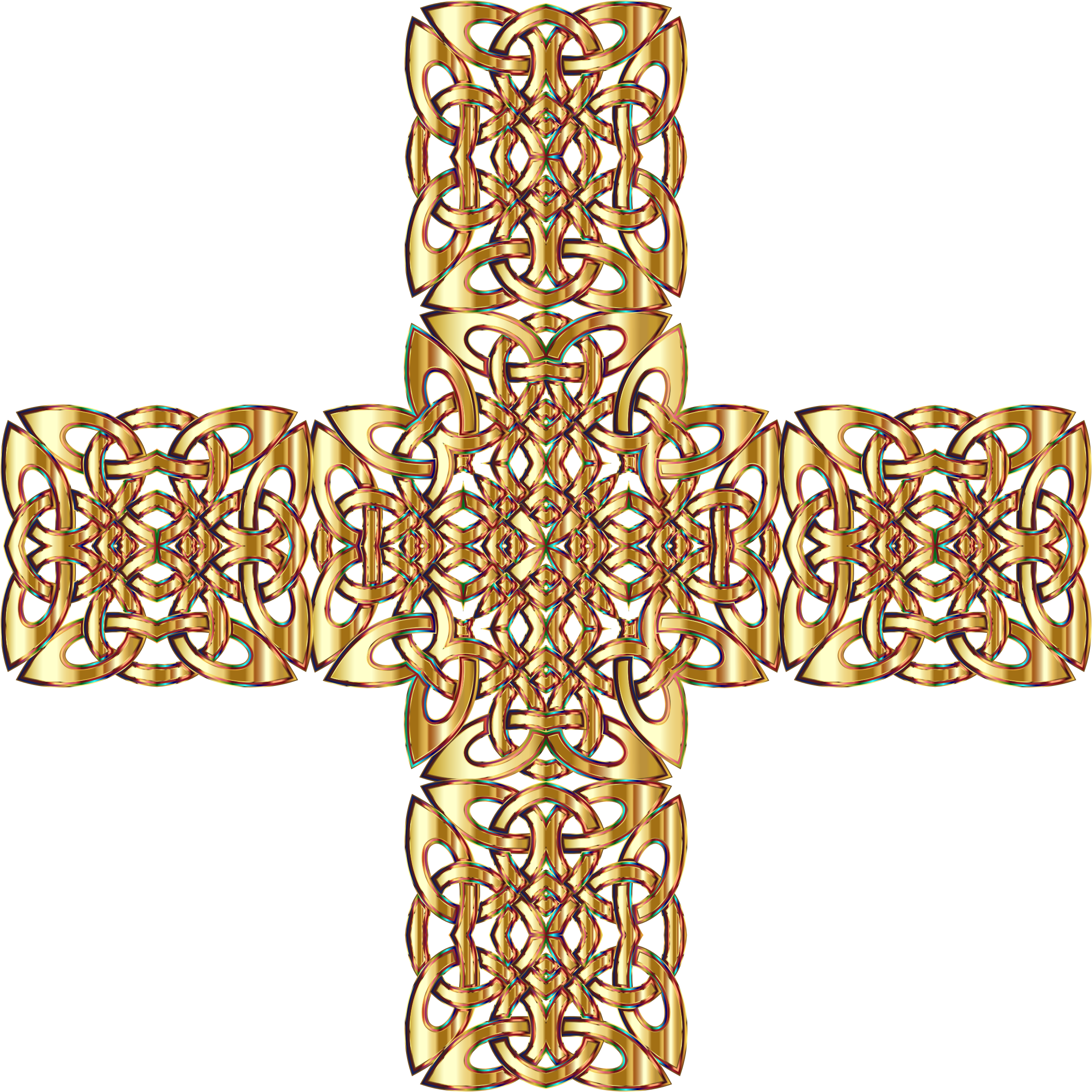 Golden Celtic Knot Cross 3 Variation 2 Without Background by GDJ