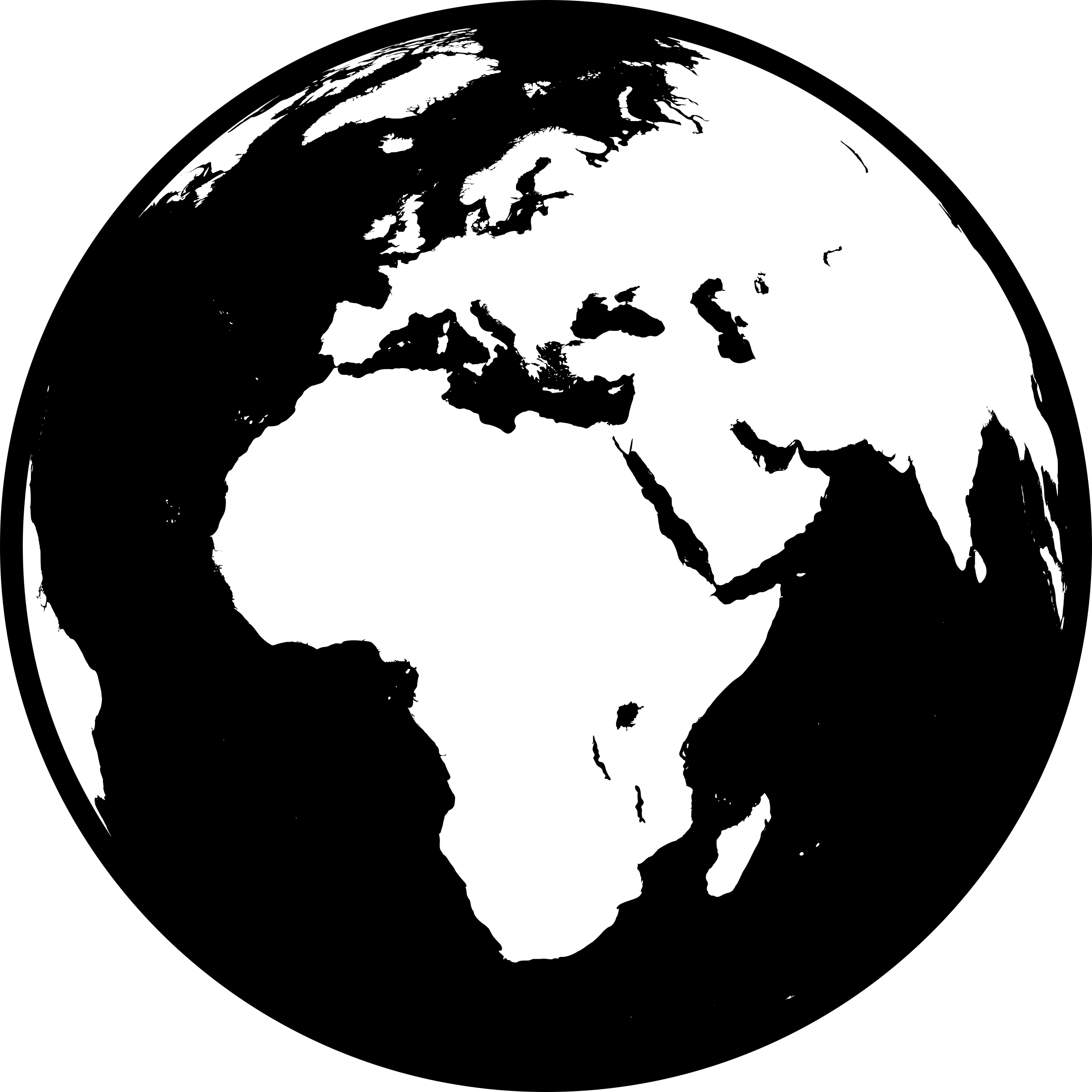 Globe showing Africa, Asia and Europe in black and white (detailed) by brylie