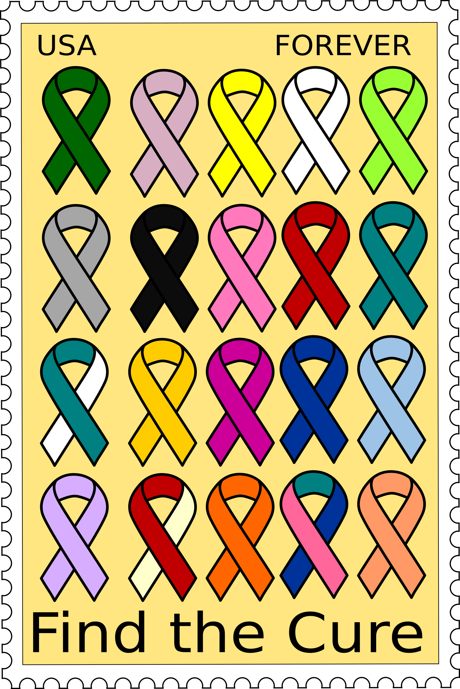 Cancer ribbons stamp by barnheartowl