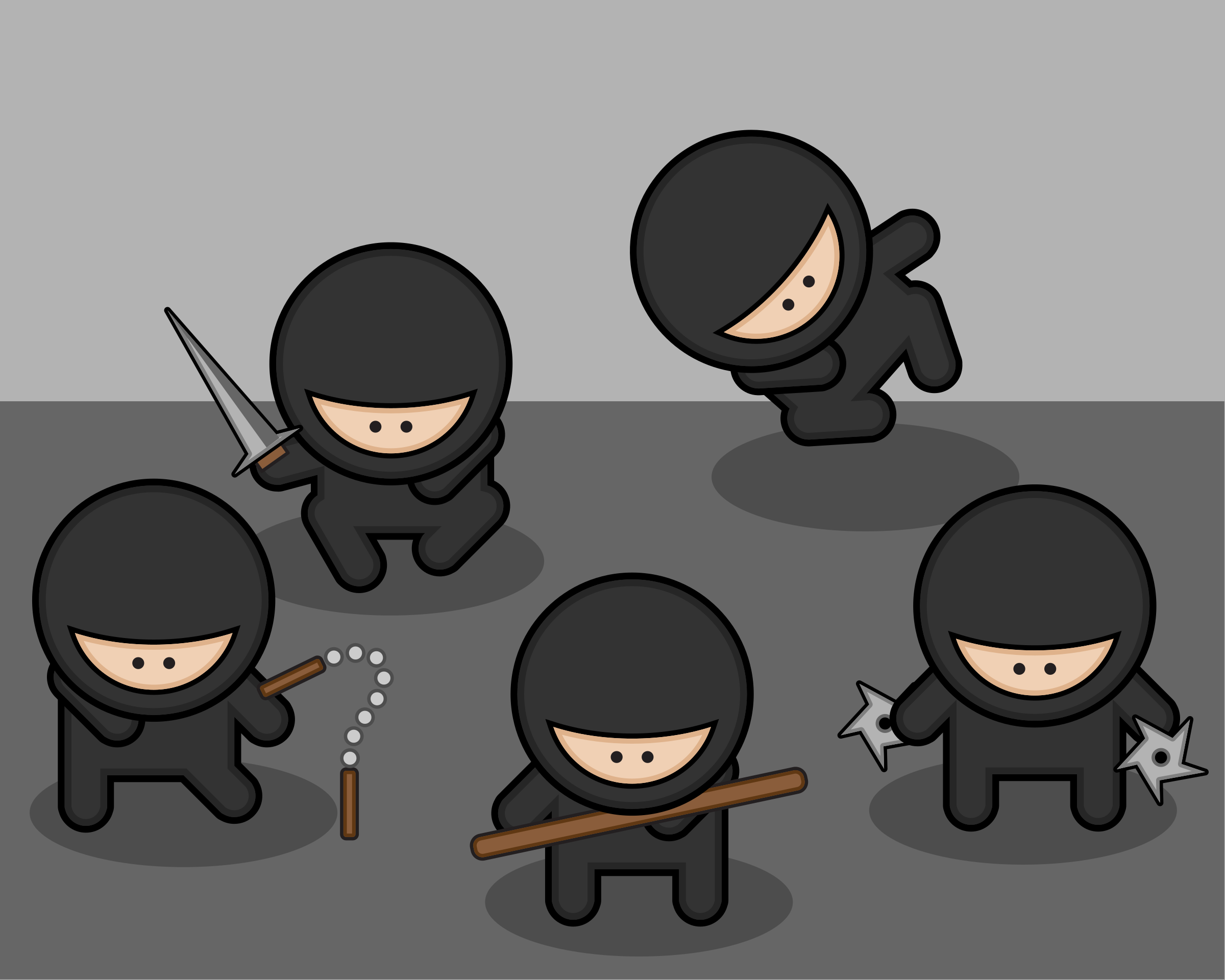 Cartoon ninjas by StudioFibonacci