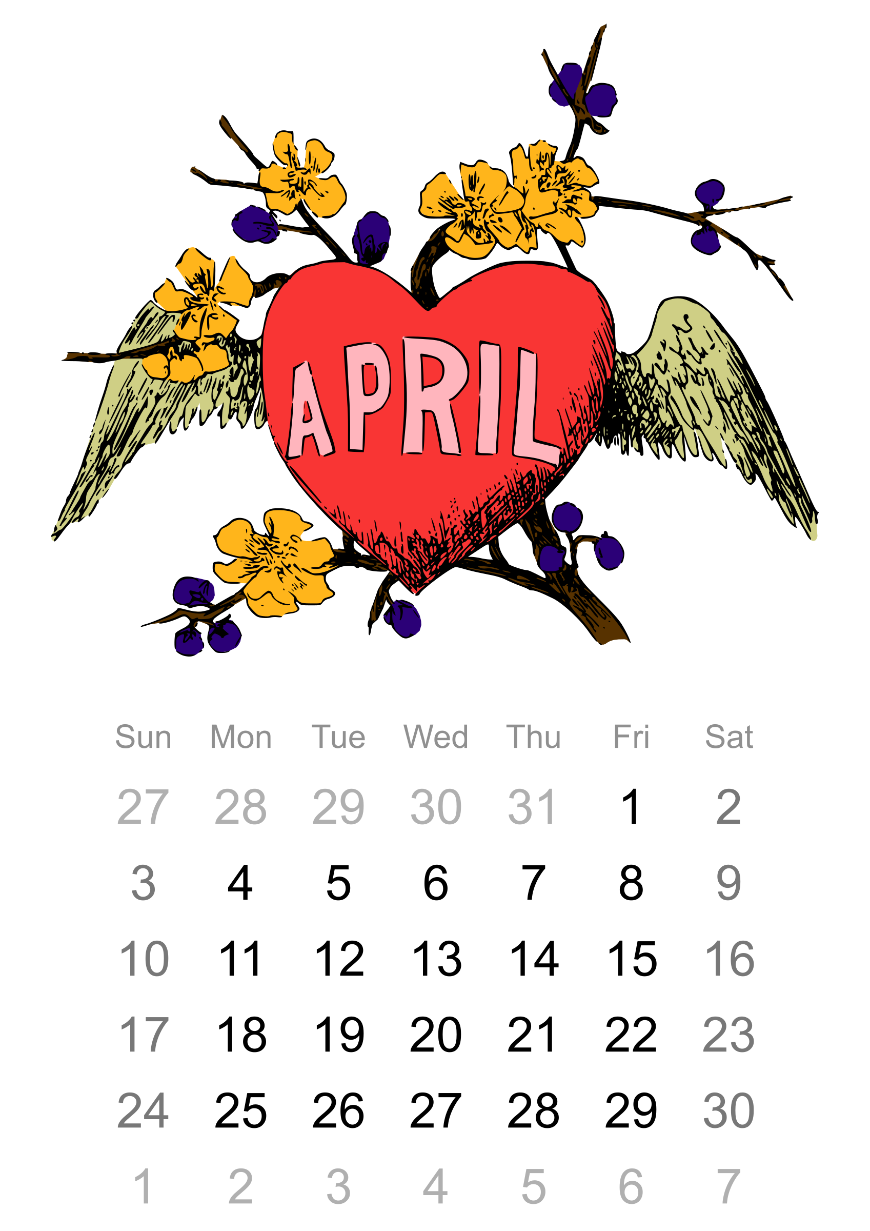 clipart 2016 april calendar rh openclipart org Month of April Clip Art april 2017 calendar clipart