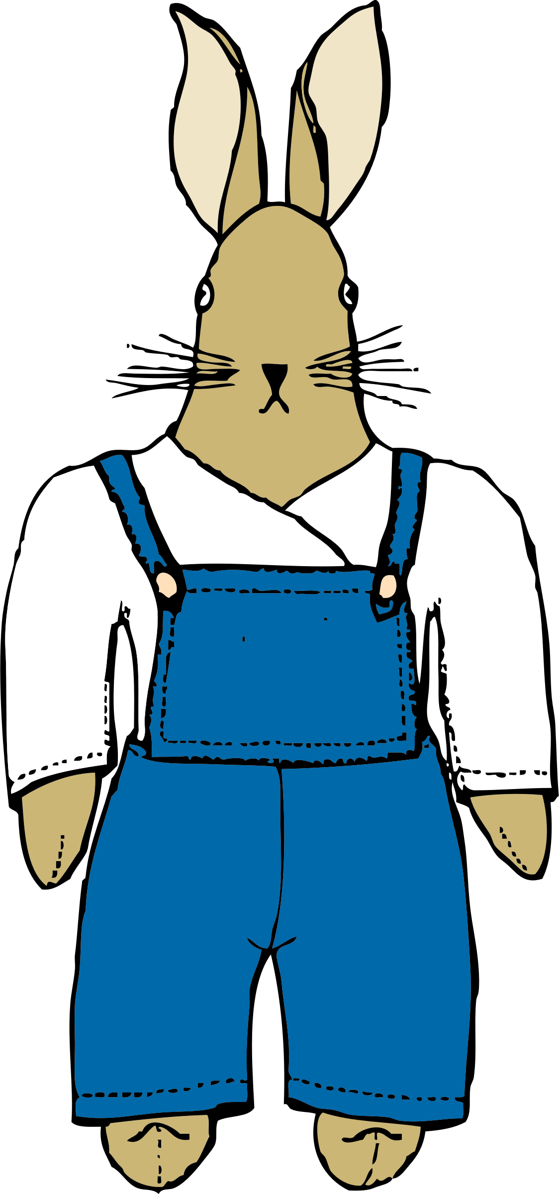 bunny in overalls front view by johnny_automatic