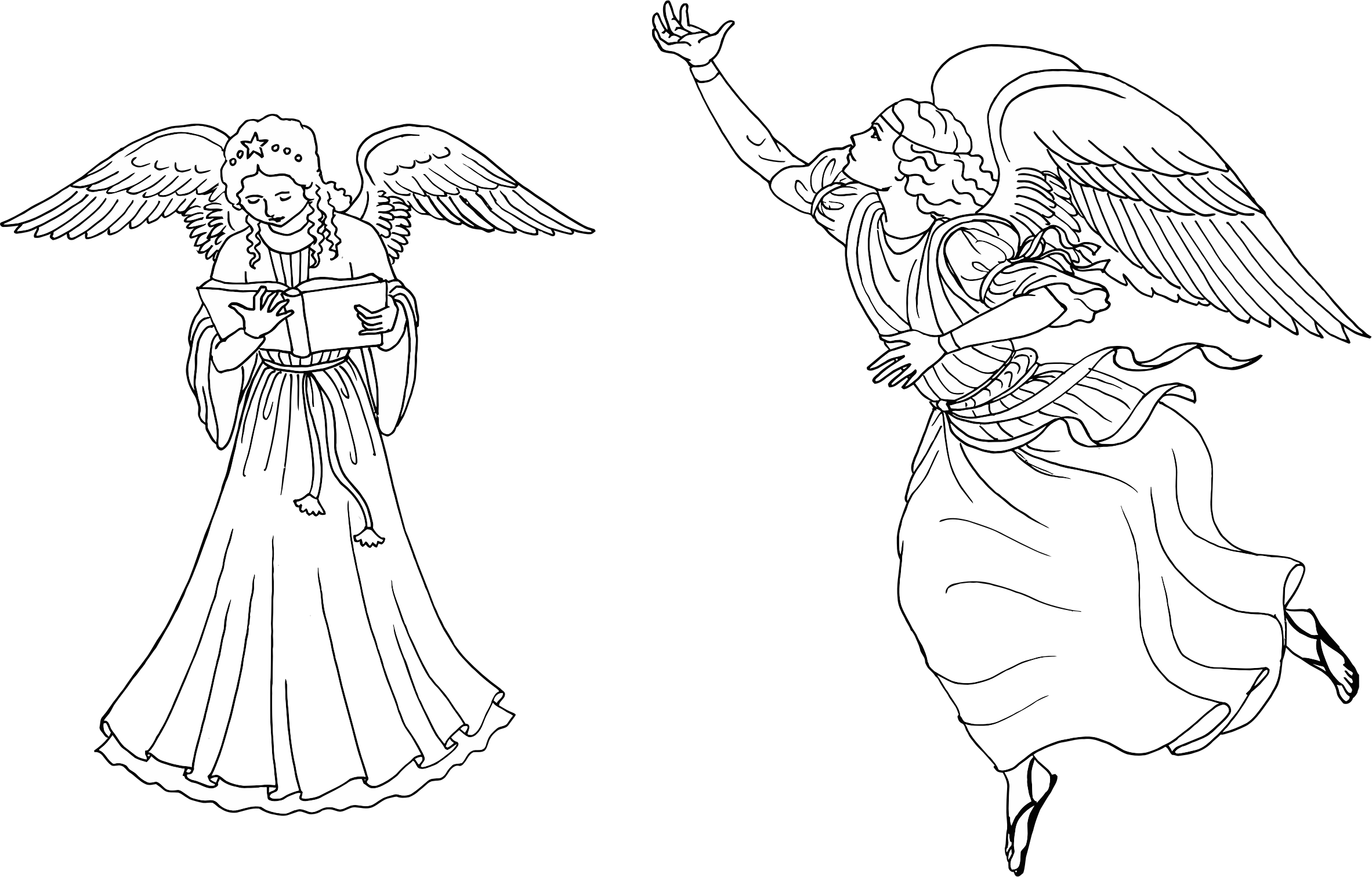 Two Female Angels Line Art by GDJ