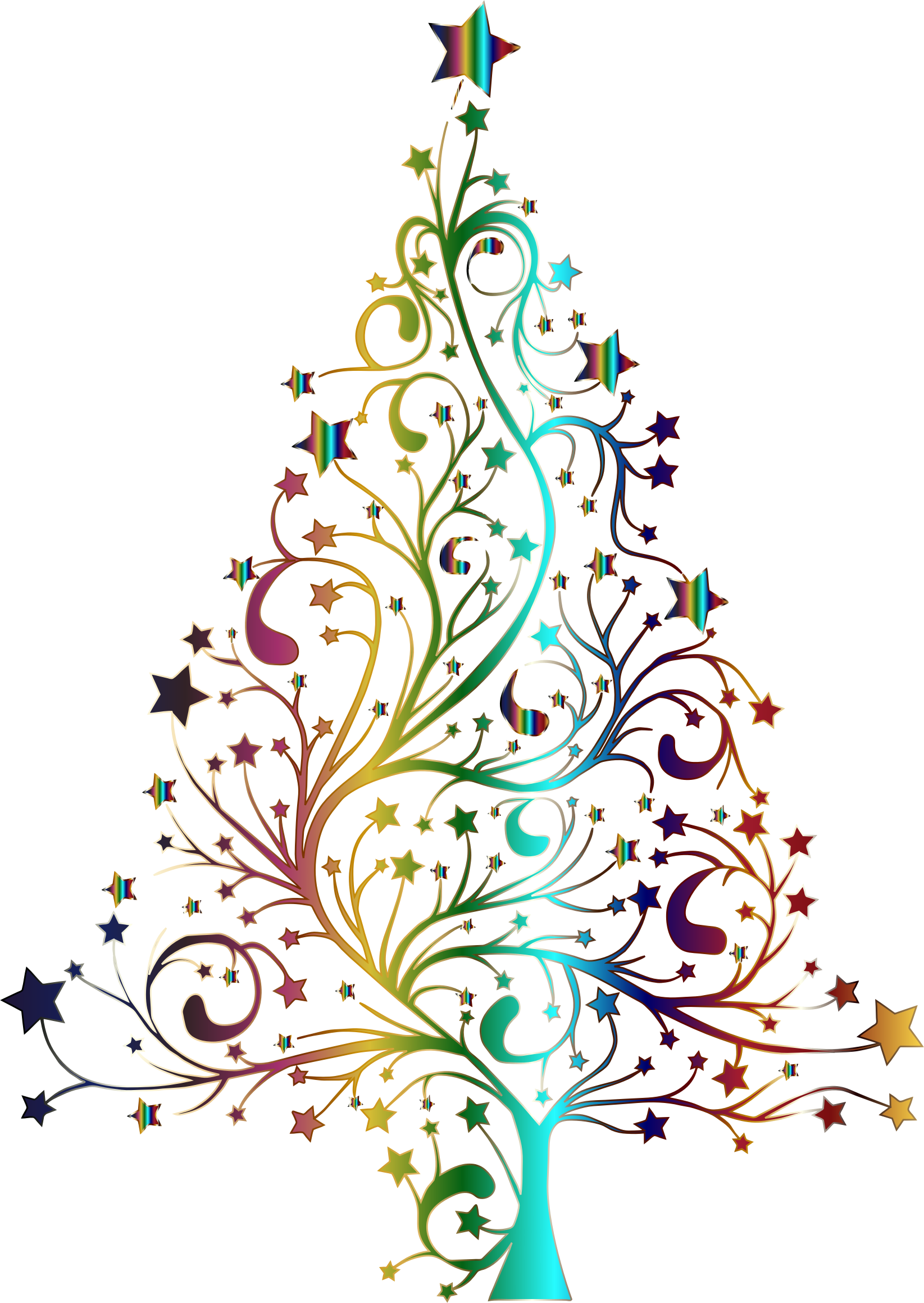 Starry Christmas Tree Prismatic No Background on Whimsical Tree Clip Art Free