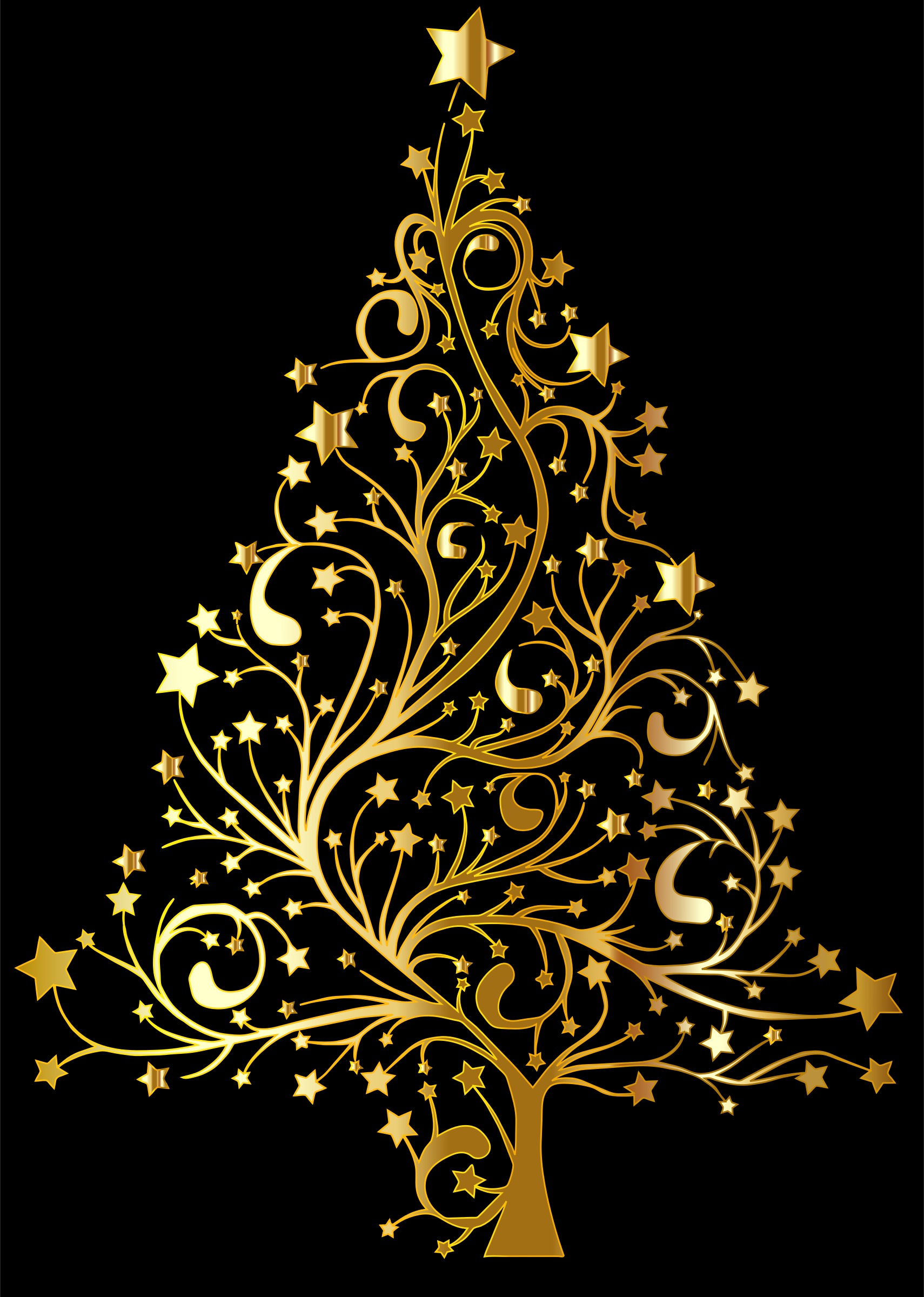 Clipart Starry Christmas Tree Gold