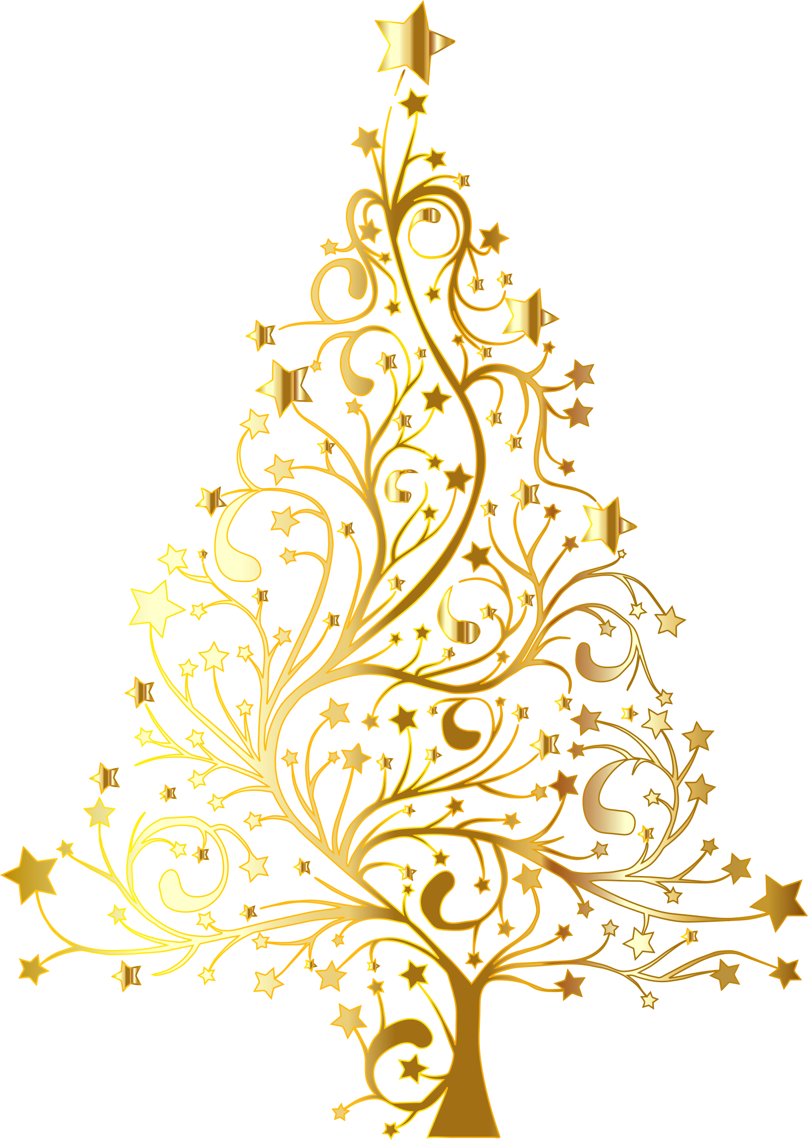 Clipart starry christmas tree gold no background for Modern gold christmas tree