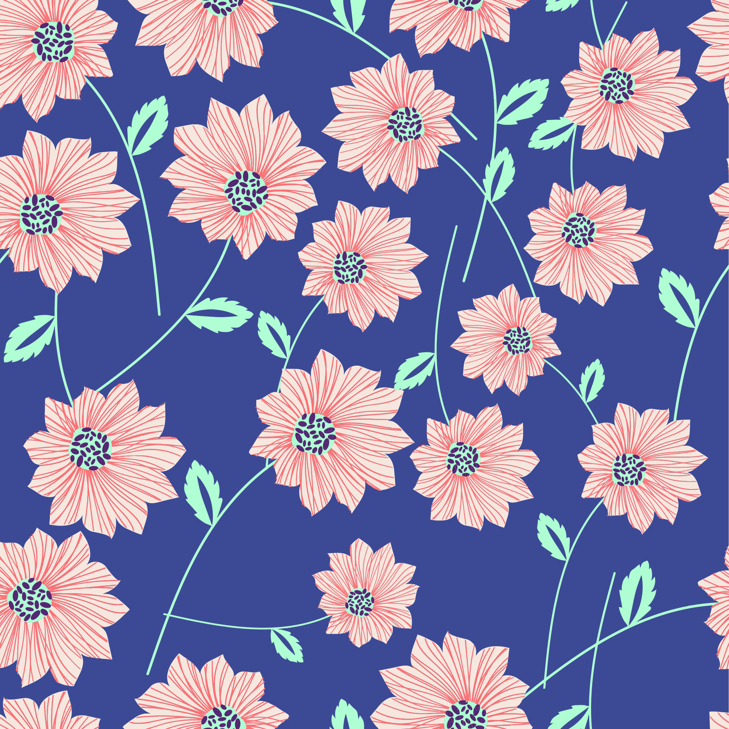 Seamless Blue Floral Pattern by GDJ
