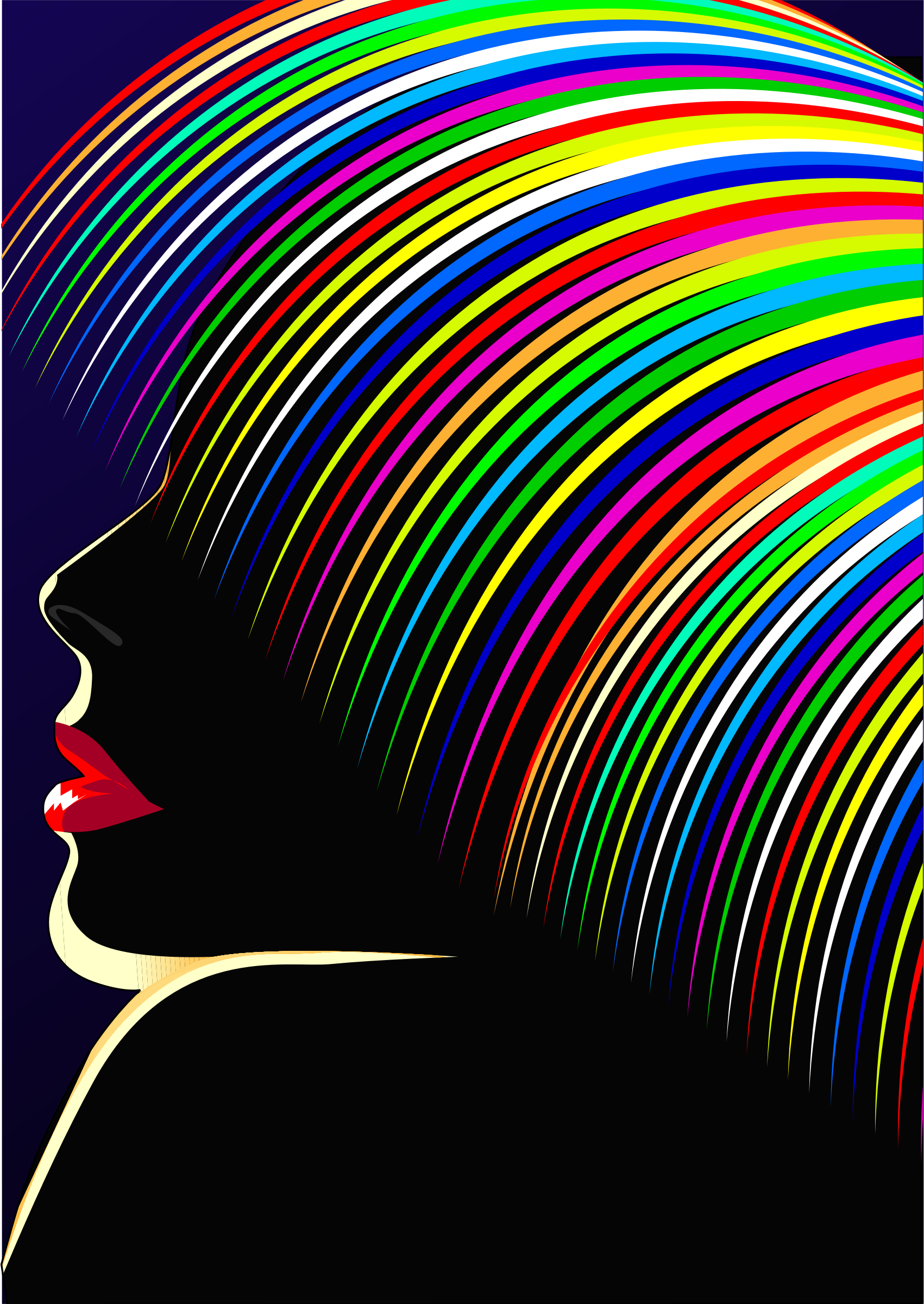 Rainbow Hair Woman Silhouette by GDJ
