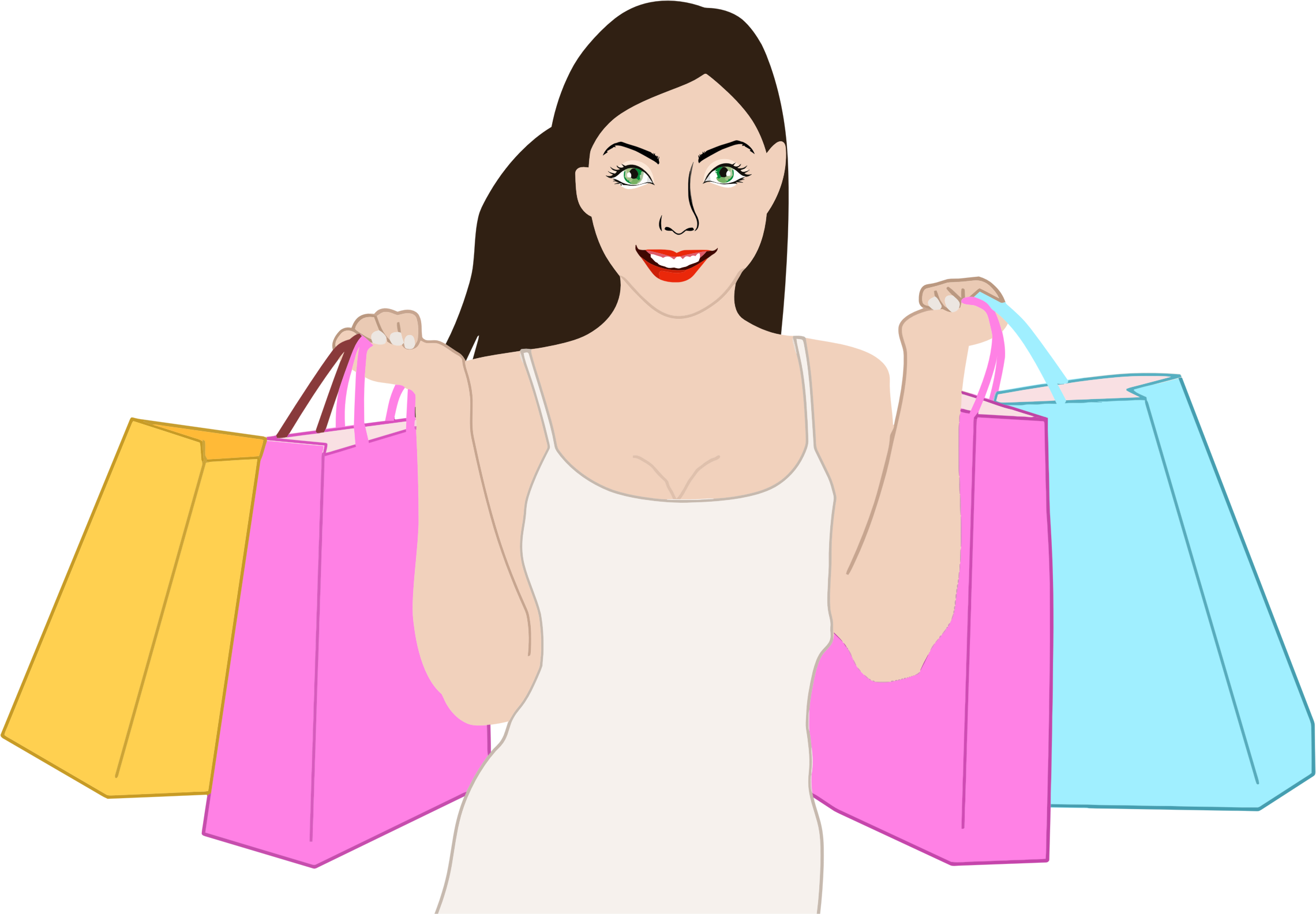 Woman Shopping Clipart Clipart - Happy Shoppi...