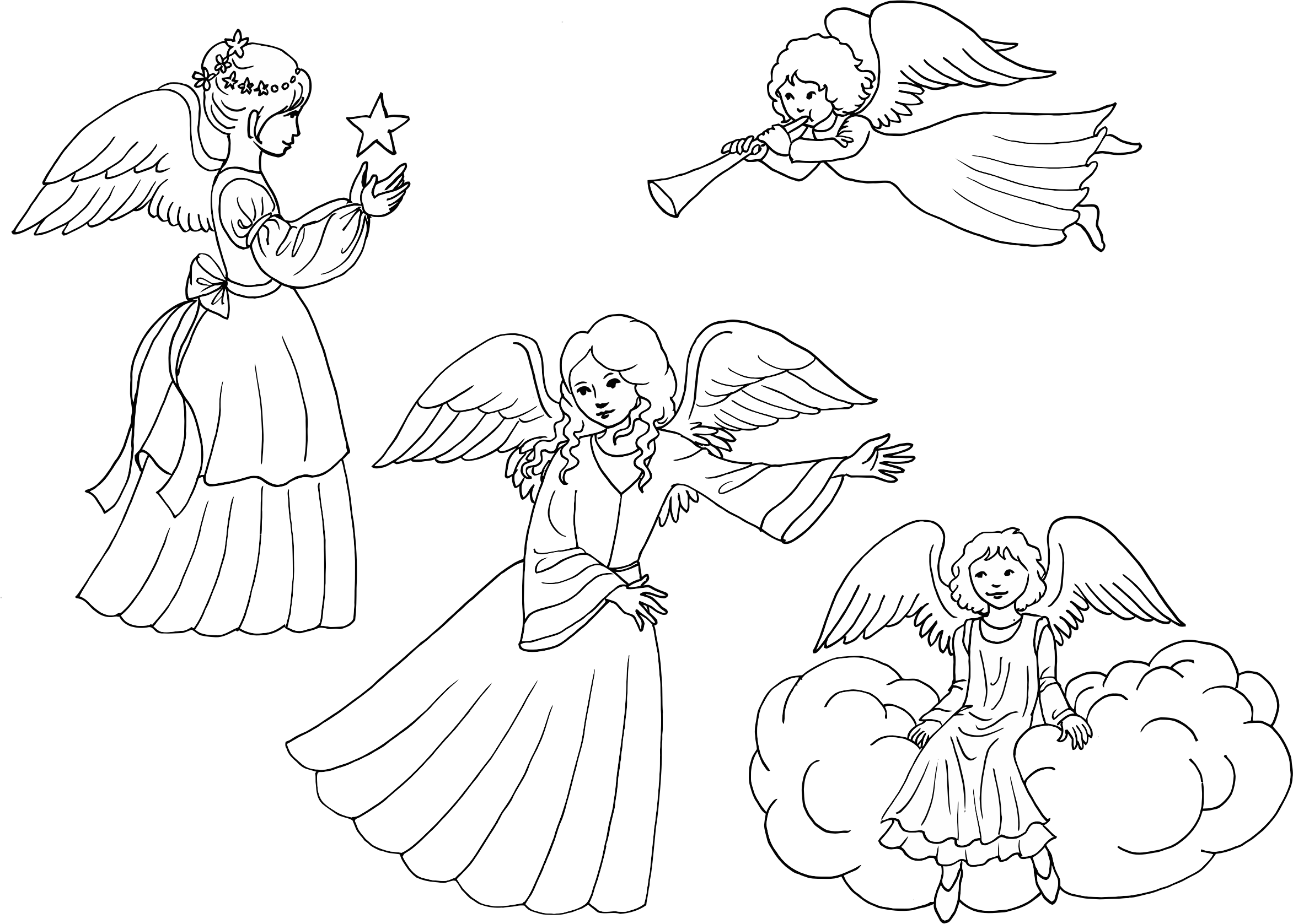 Four Female Angels Line Art by GDJ
