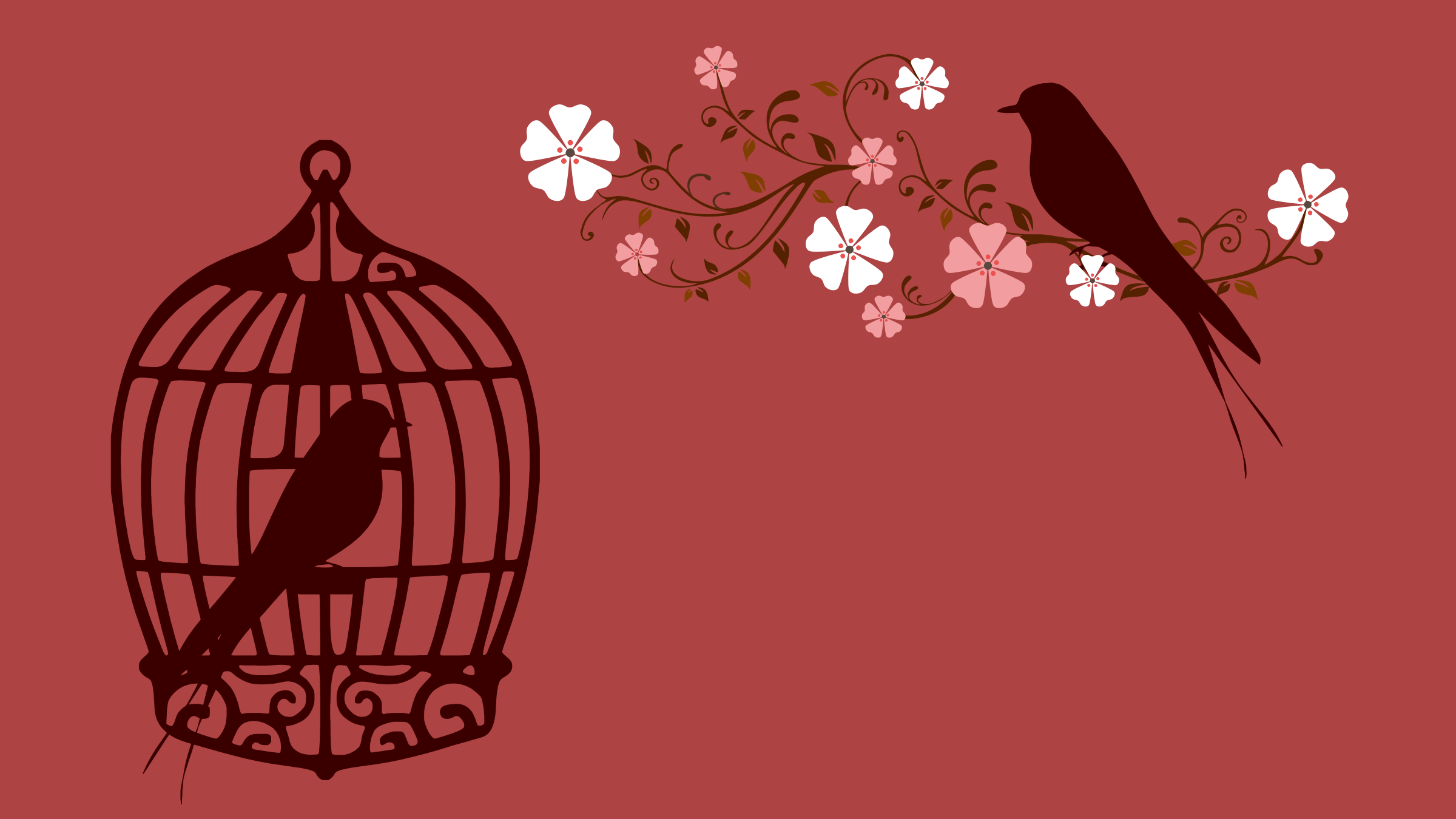 Floral Birds Silhouette by GDJ