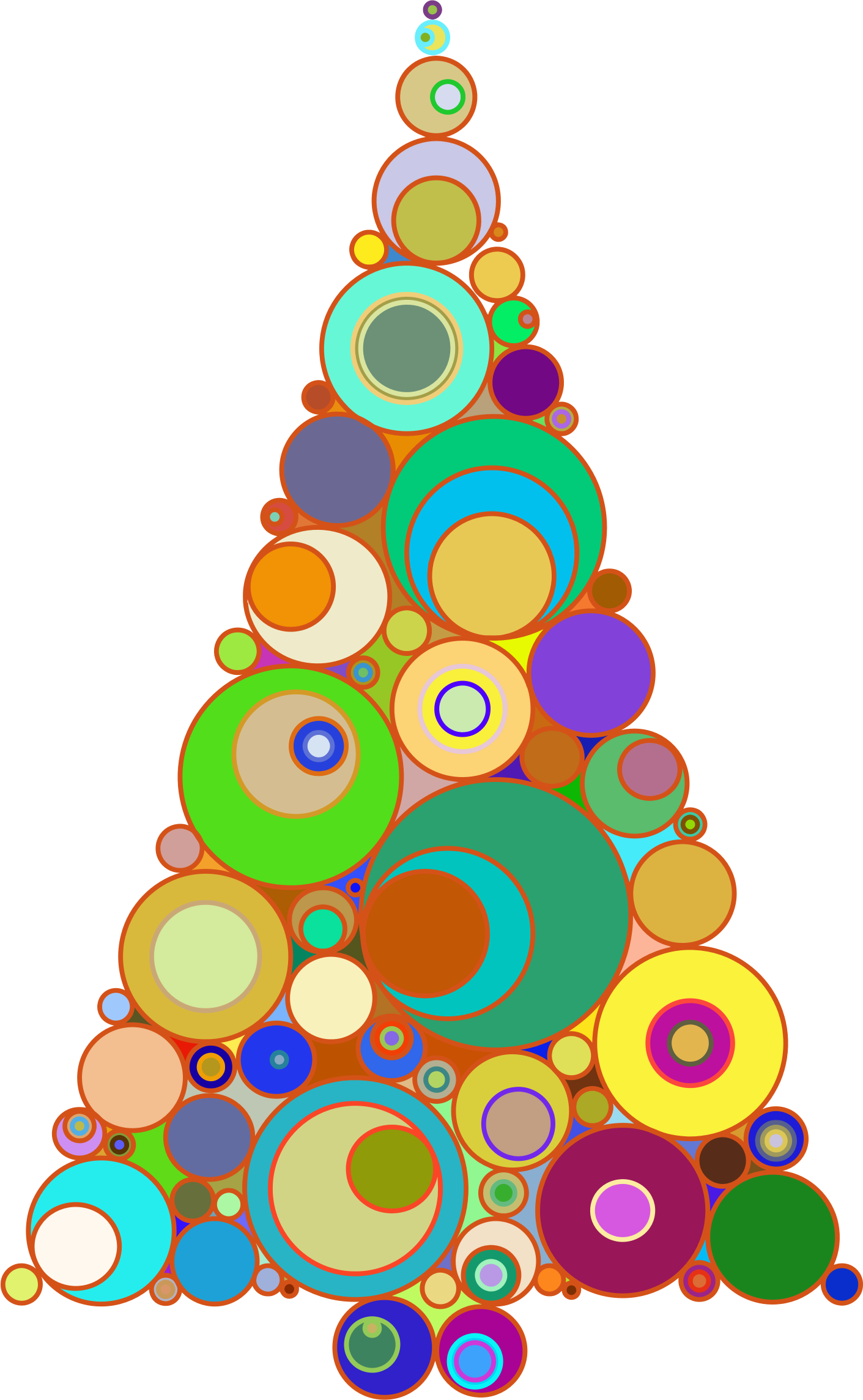 Colorful Abstract Circles Christmas Tree by GDJ