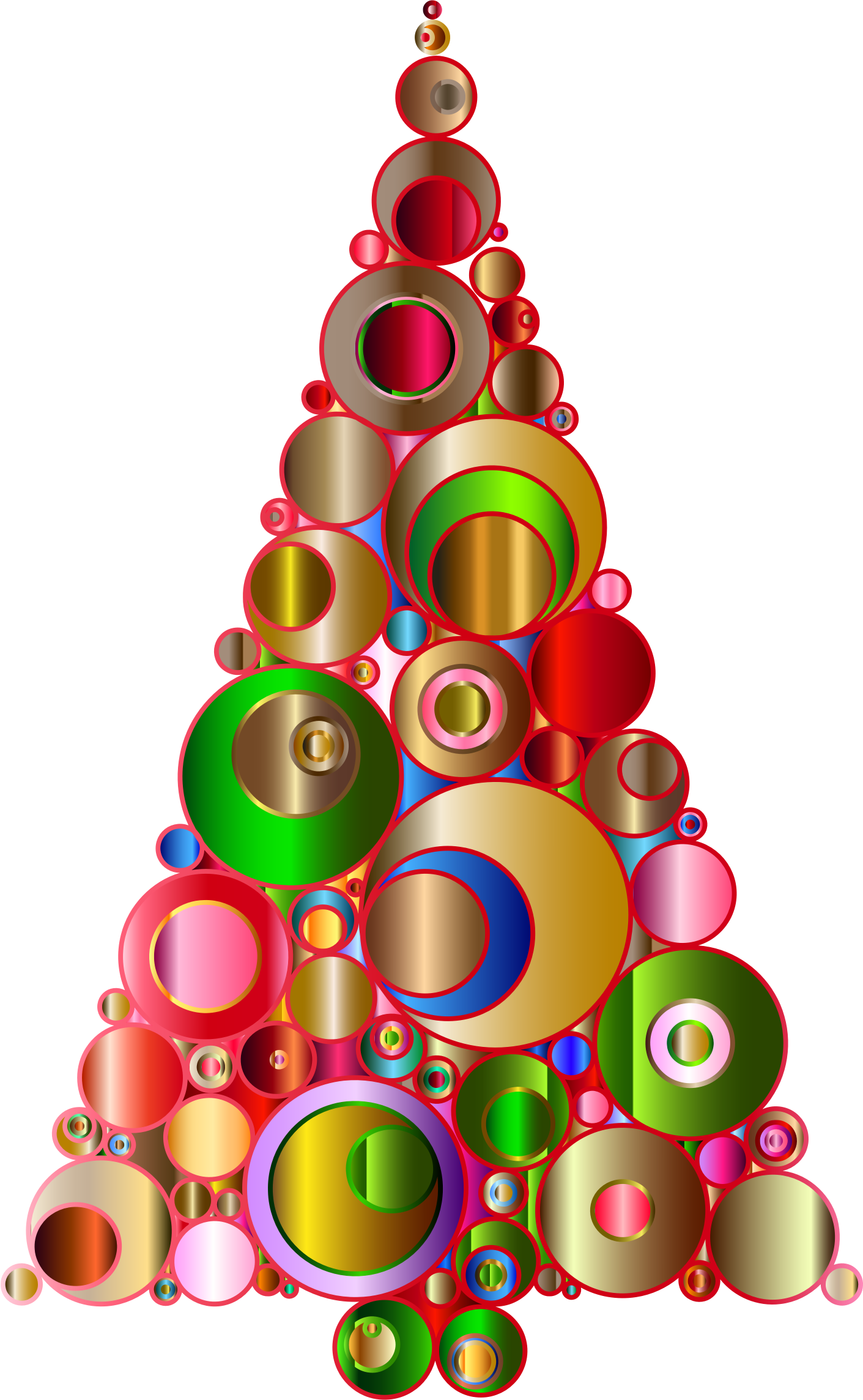 Colorful Abstract Circles Christmas Tree 2 by GDJ