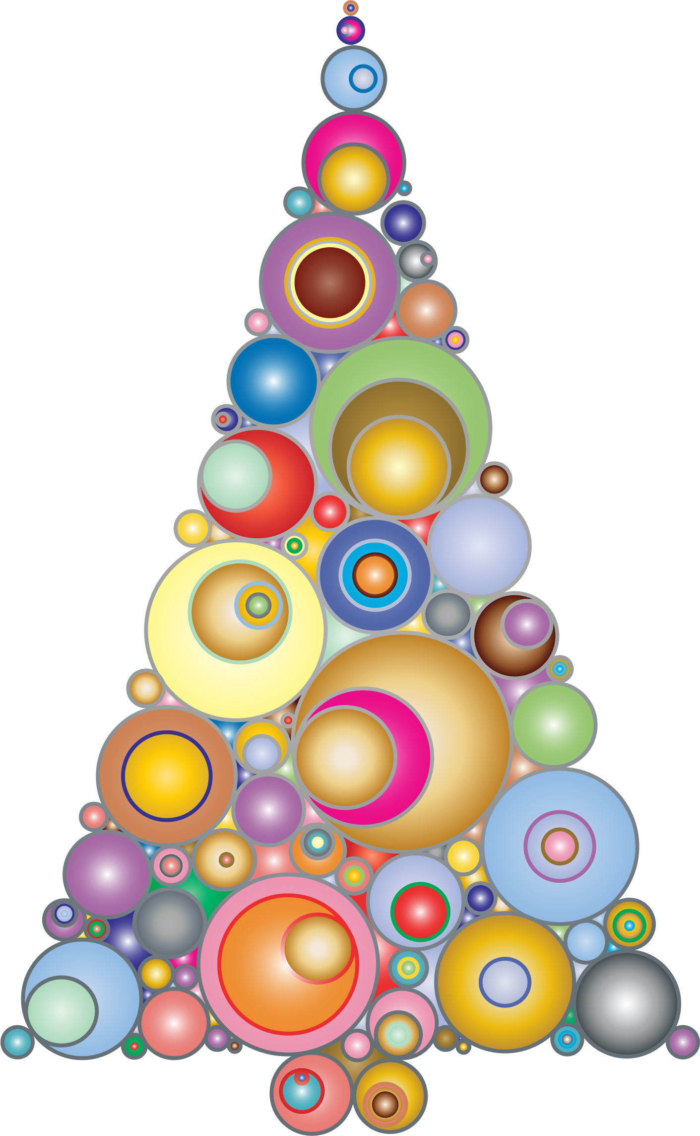 Colorful Abstract Circles Christmas Tree 3 by GDJ