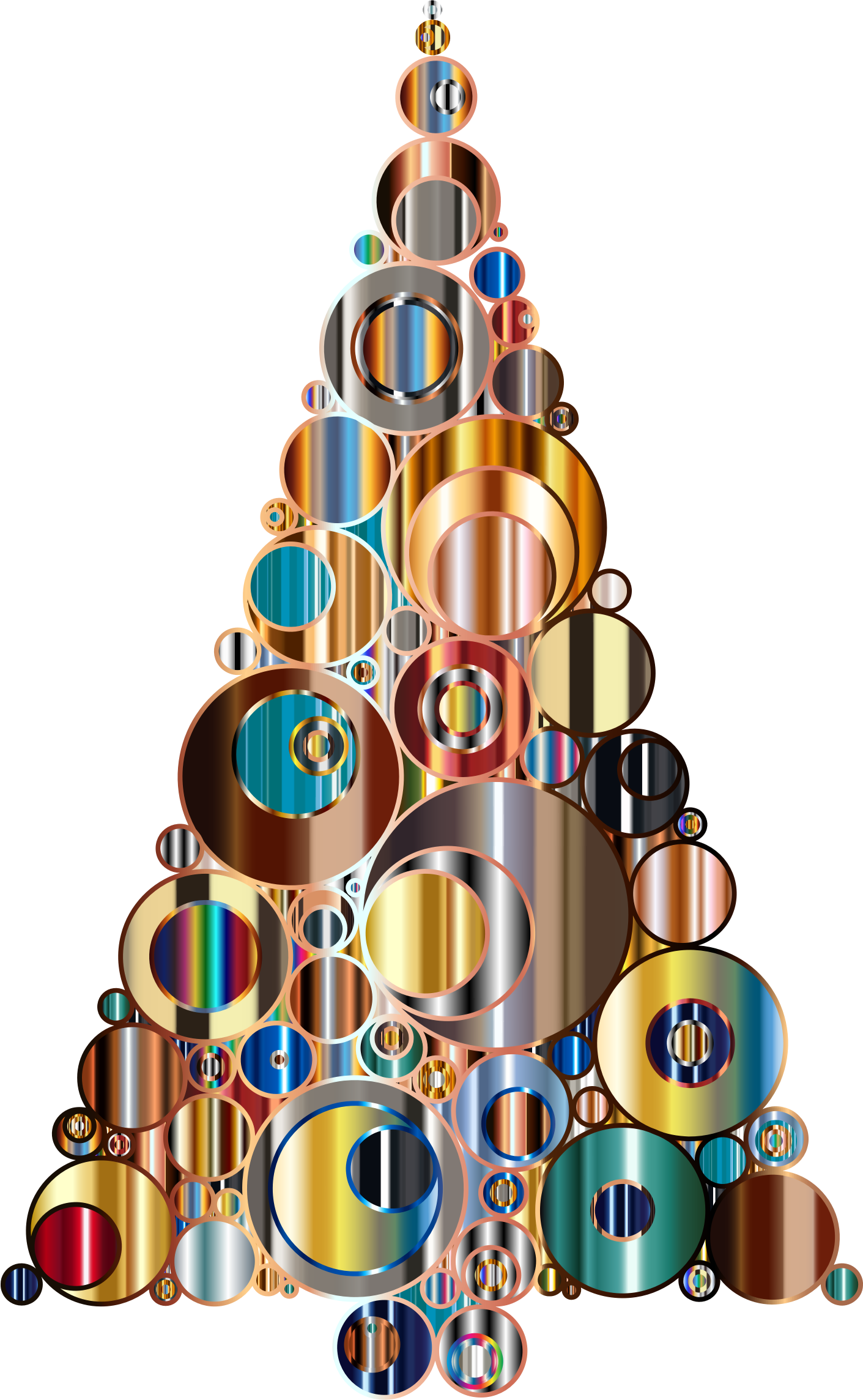 Colorful Abstract Circles Christmas Tree 6 by GDJ