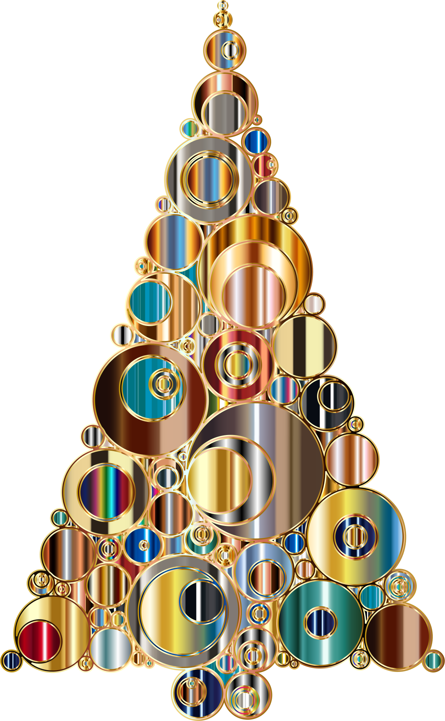 Colorful Abstract Circles Christmas Tree 6 Variation 3 by GDJ