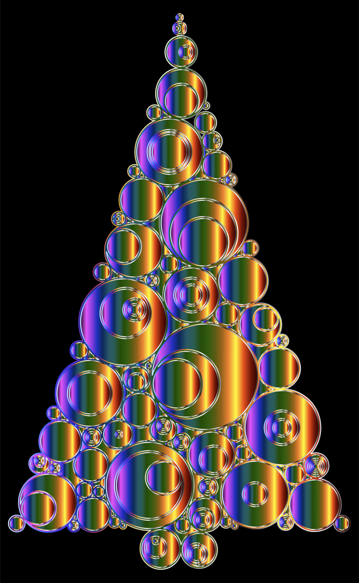 Colorful Abstract Circles Christmas Tree 6 Variation 4 by GDJ