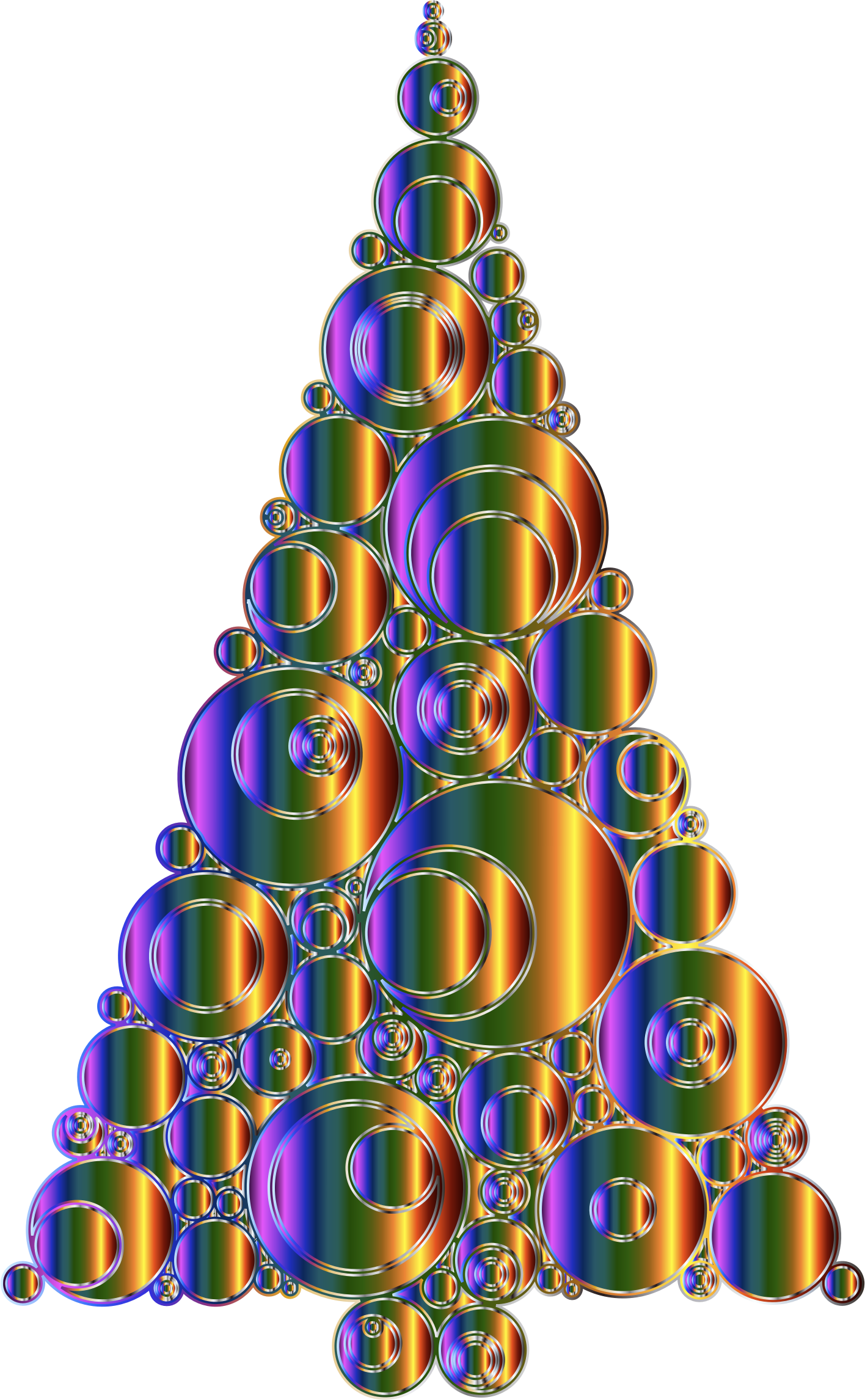 Colorful Abstract Circles Christmas Tree 6 Variation 4 No Background by GDJ