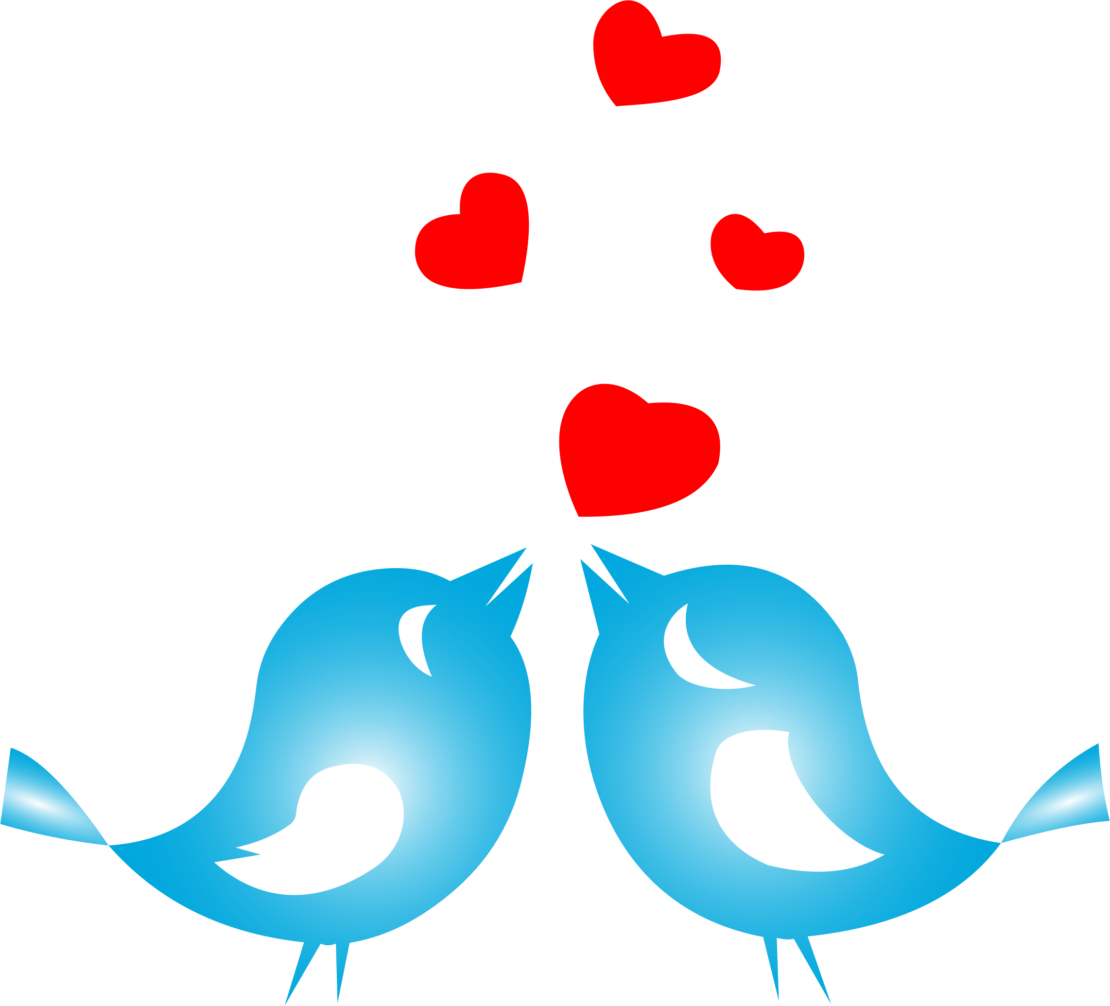 Clipart - Colored Love Birds With Hearts