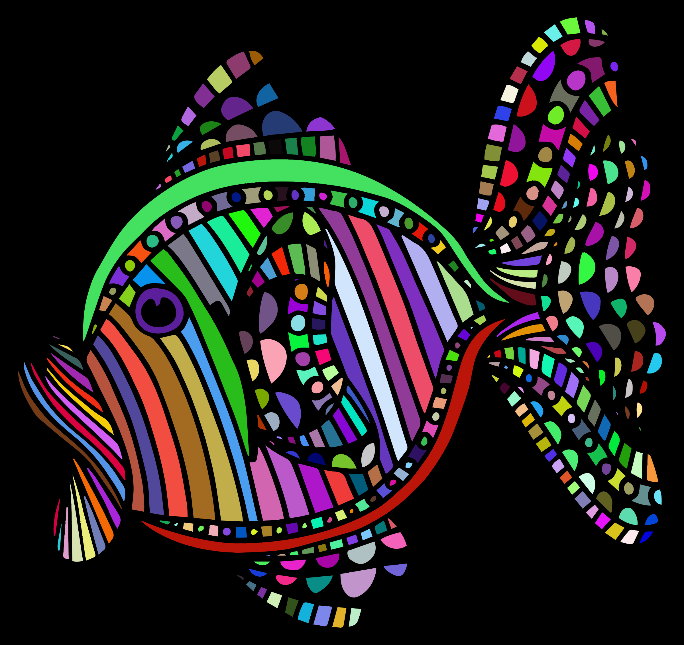 Clipart - Abstract Colorful Fish With Background
