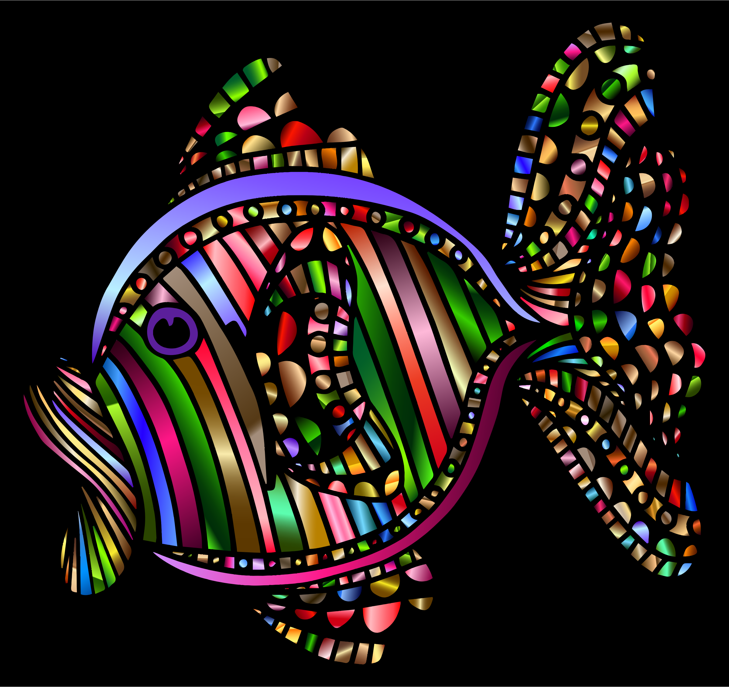 Abstract Colorful Fish 2 With Background by GDJ
